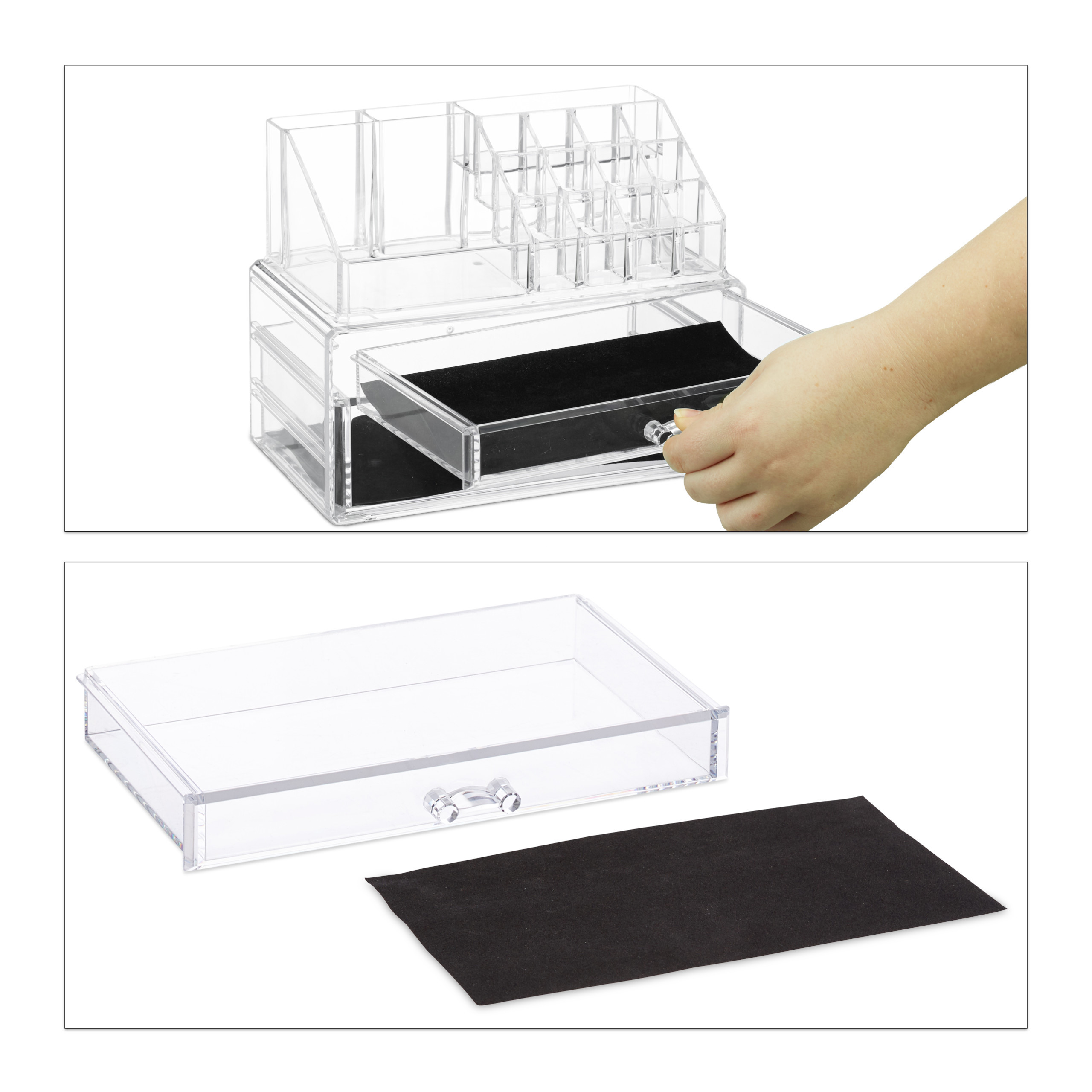 Cosmetic-Organiser-with-2-Drawers-Acrylic-Makeup-Kit-Lipstick-Holder-Large thumbnail 9