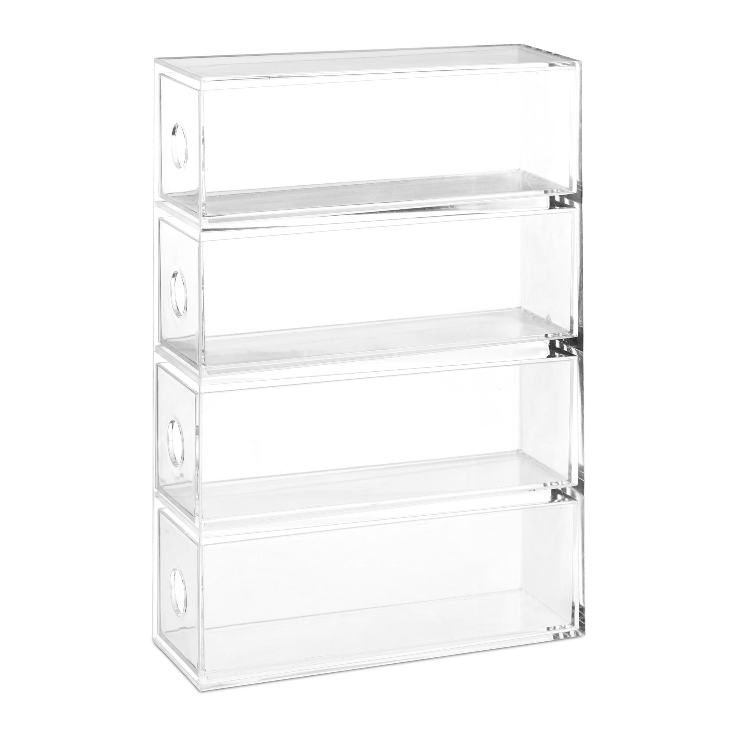 Transparent-Make-Up-Organiser-Storage-Box-with-4-Drawers thumbnail 6