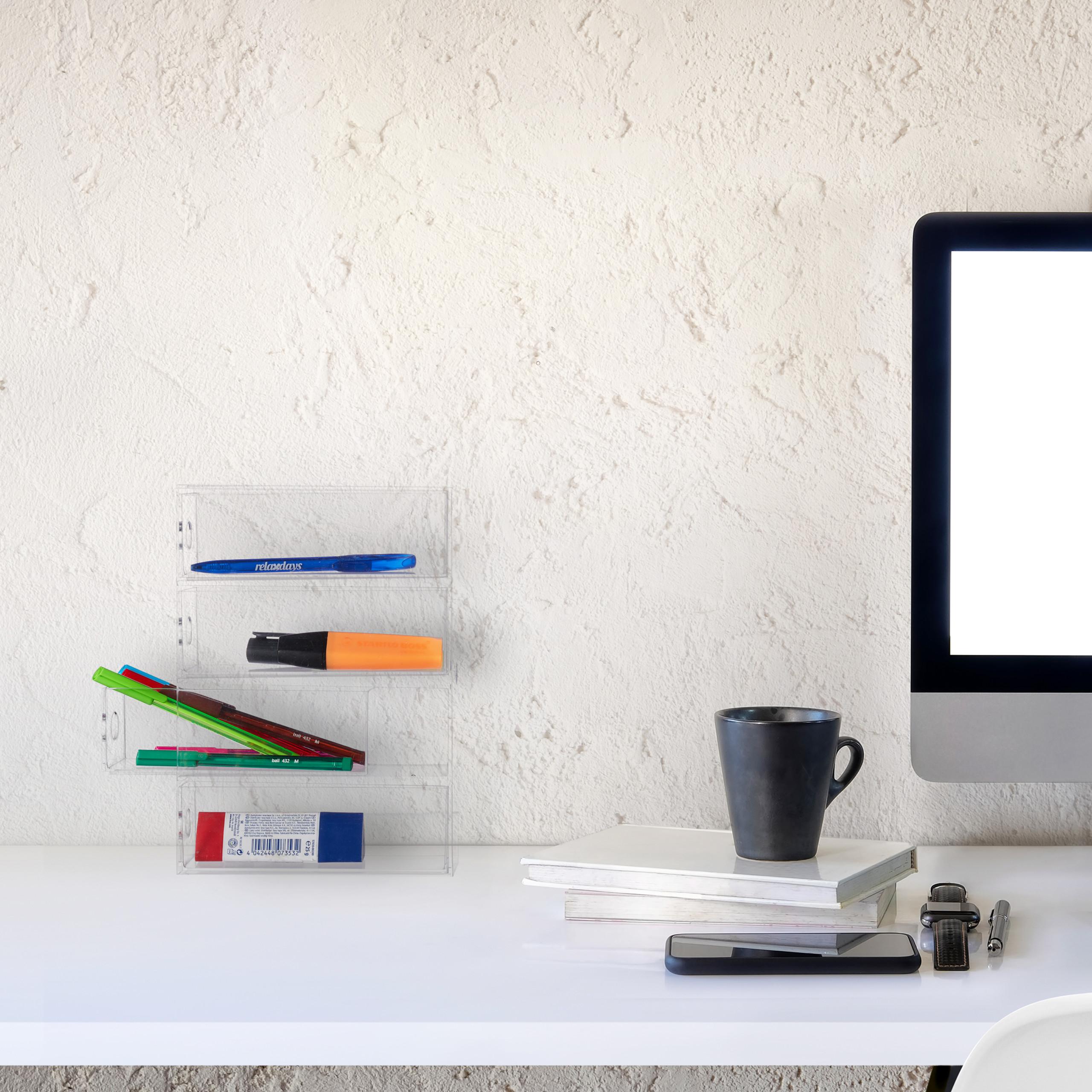 Transparent-Make-Up-Organiser-Storage-Box-with-4-Drawers thumbnail 4