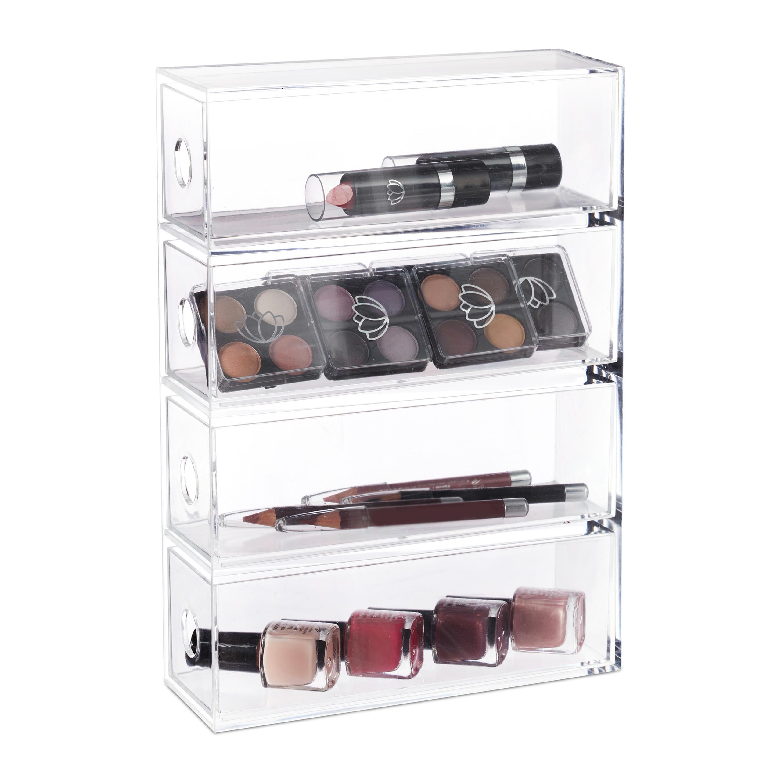 Transparent-Make-Up-Organiser-Storage-Box-with-4-Drawers thumbnail 5