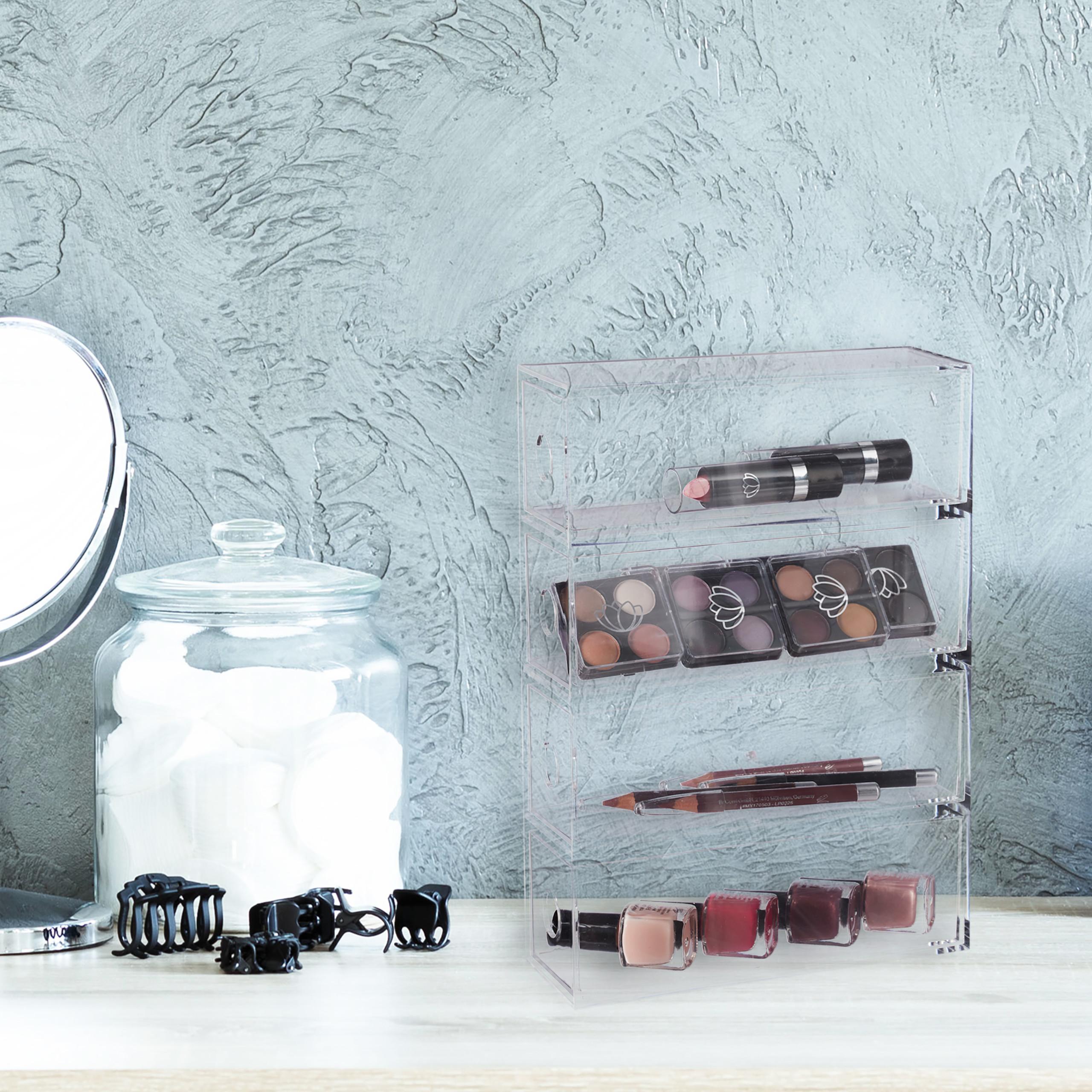 Transparent-Make-Up-Organiser-Storage-Box-with-4-Drawers thumbnail 8