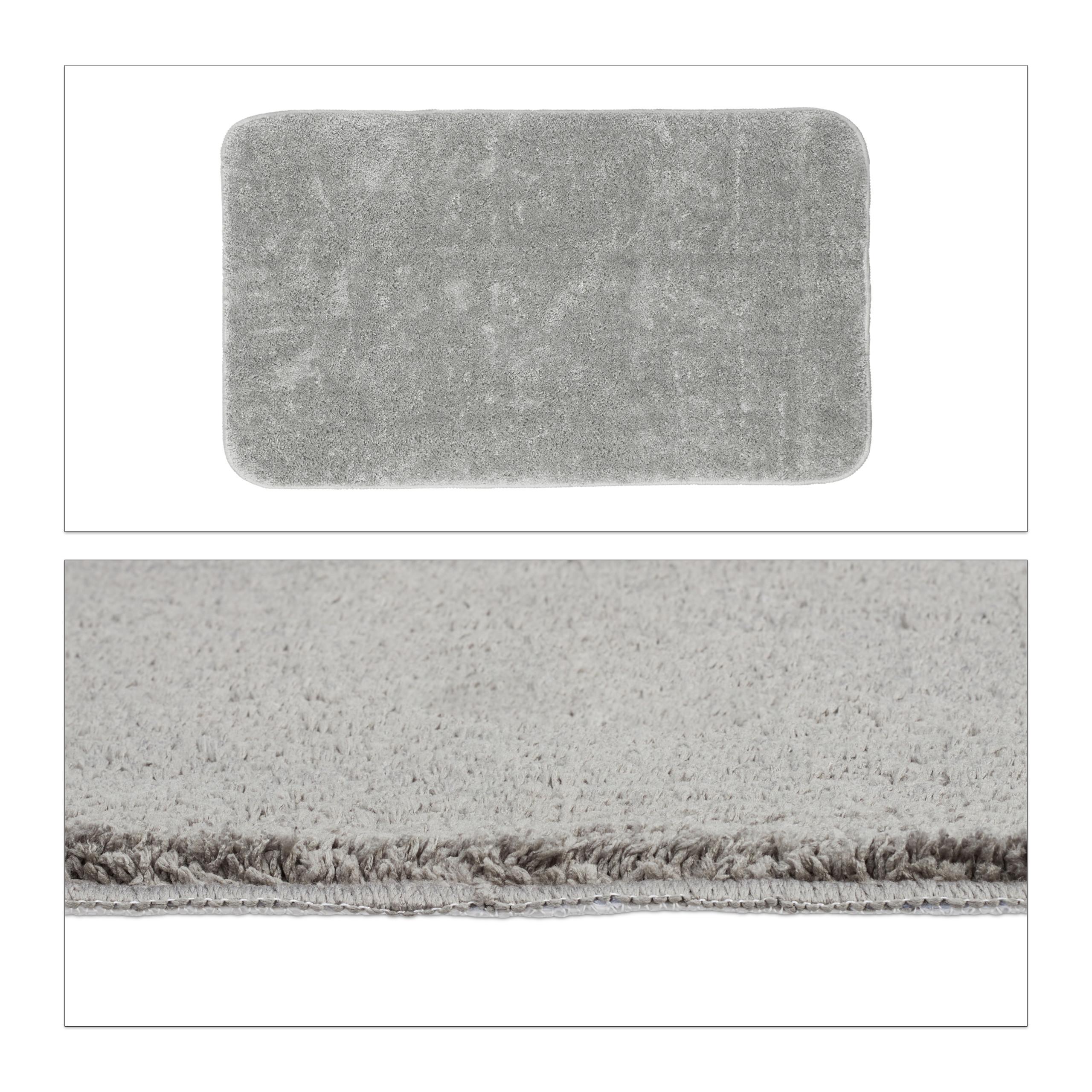 Détails sur Tapis de bain gris salle de bain tapis antidérapant tapis de  bain gris anthracit