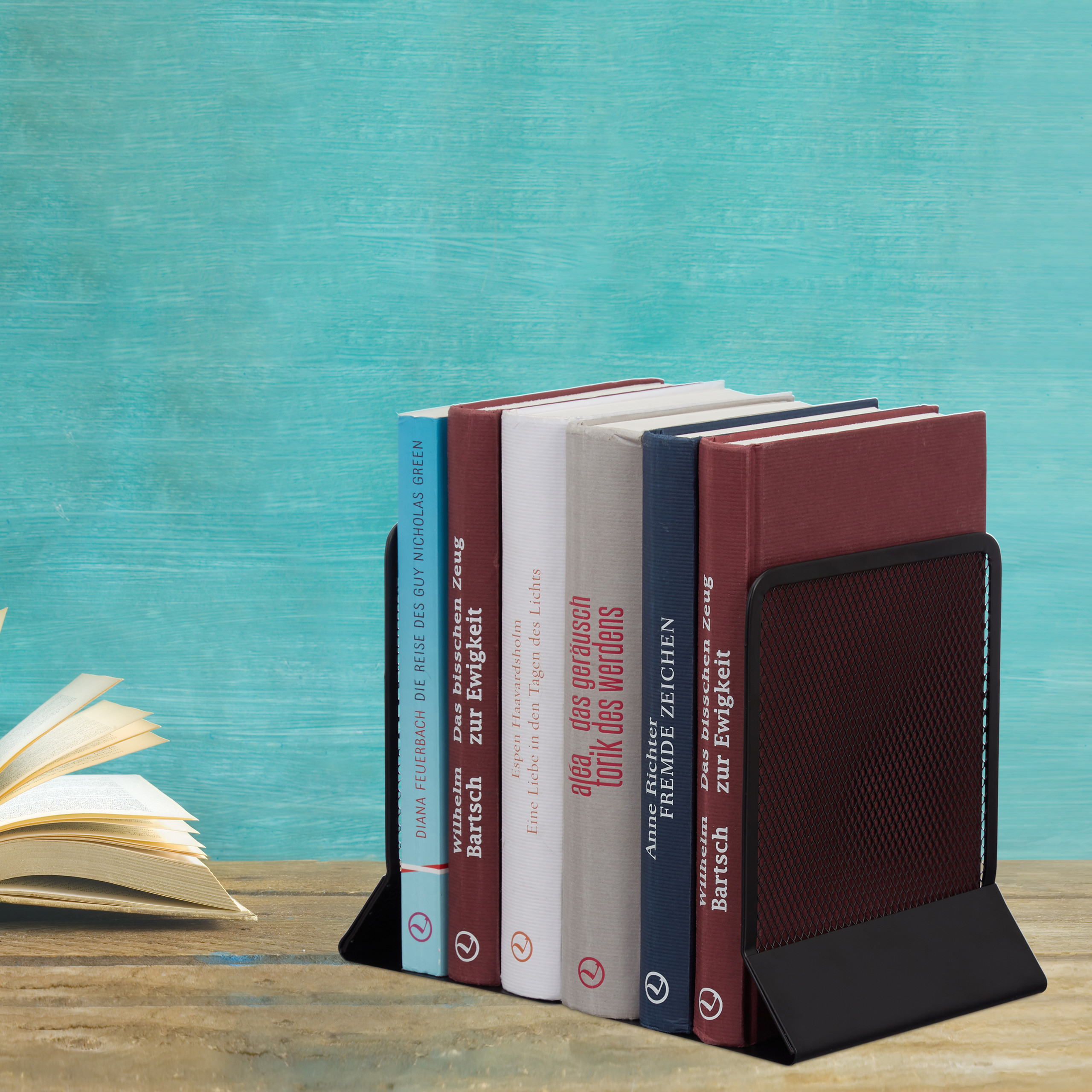 2-Piece-Bookend-Set-Decorative-Book-CD-and-DVD-Holders-Metal-Book-Support thumbnail 5