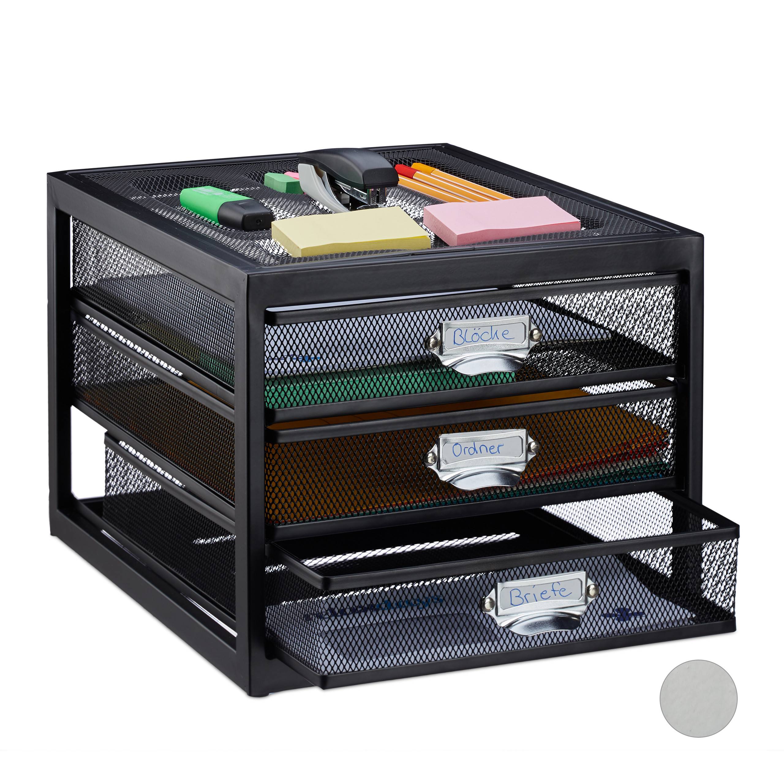 Corbeille-a-courrier-porte-documents-organiseur-porte-revues-3-tiroirs miniature 11