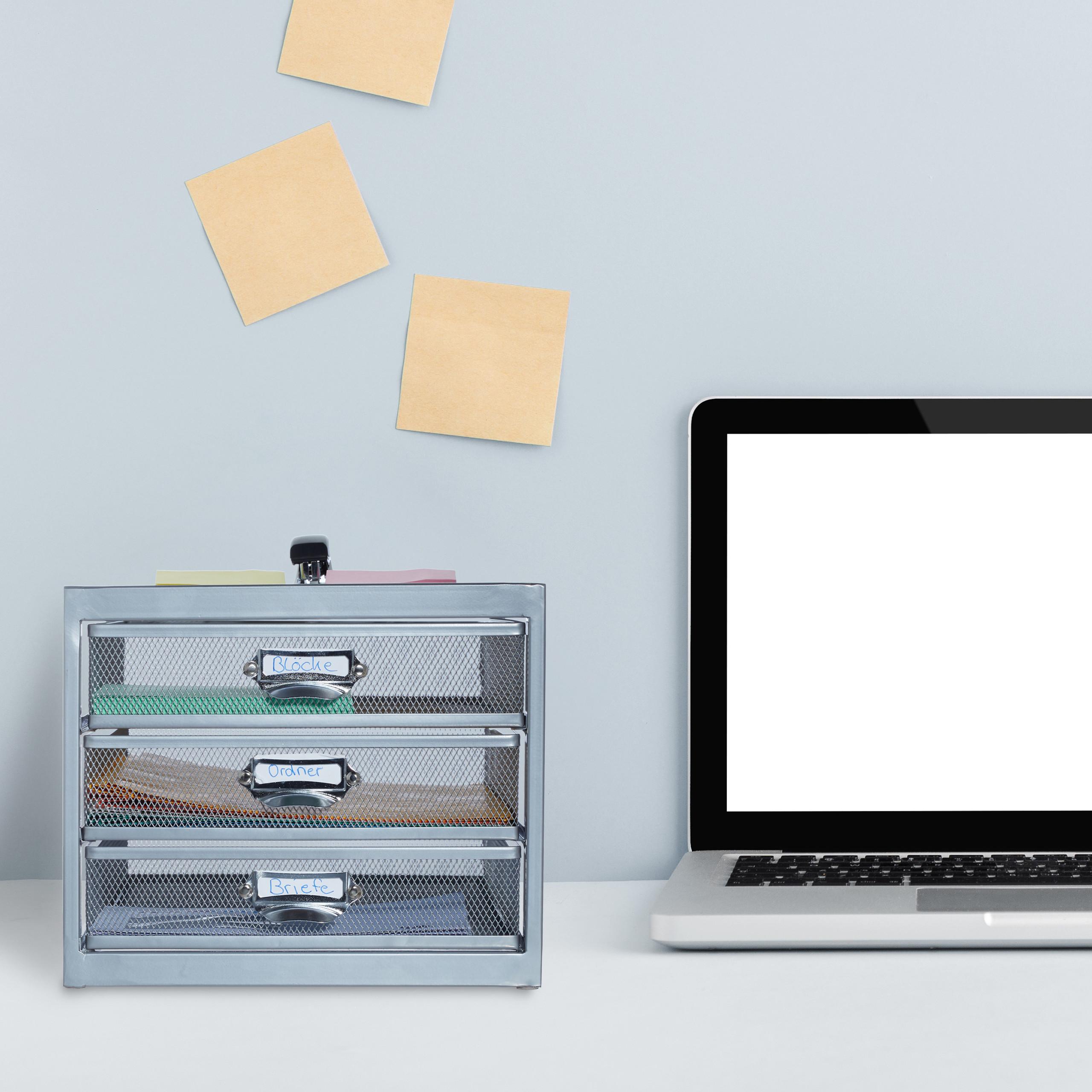 Corbeille-a-courrier-porte-documents-organiseur-porte-revues-3-tiroirs miniature 4