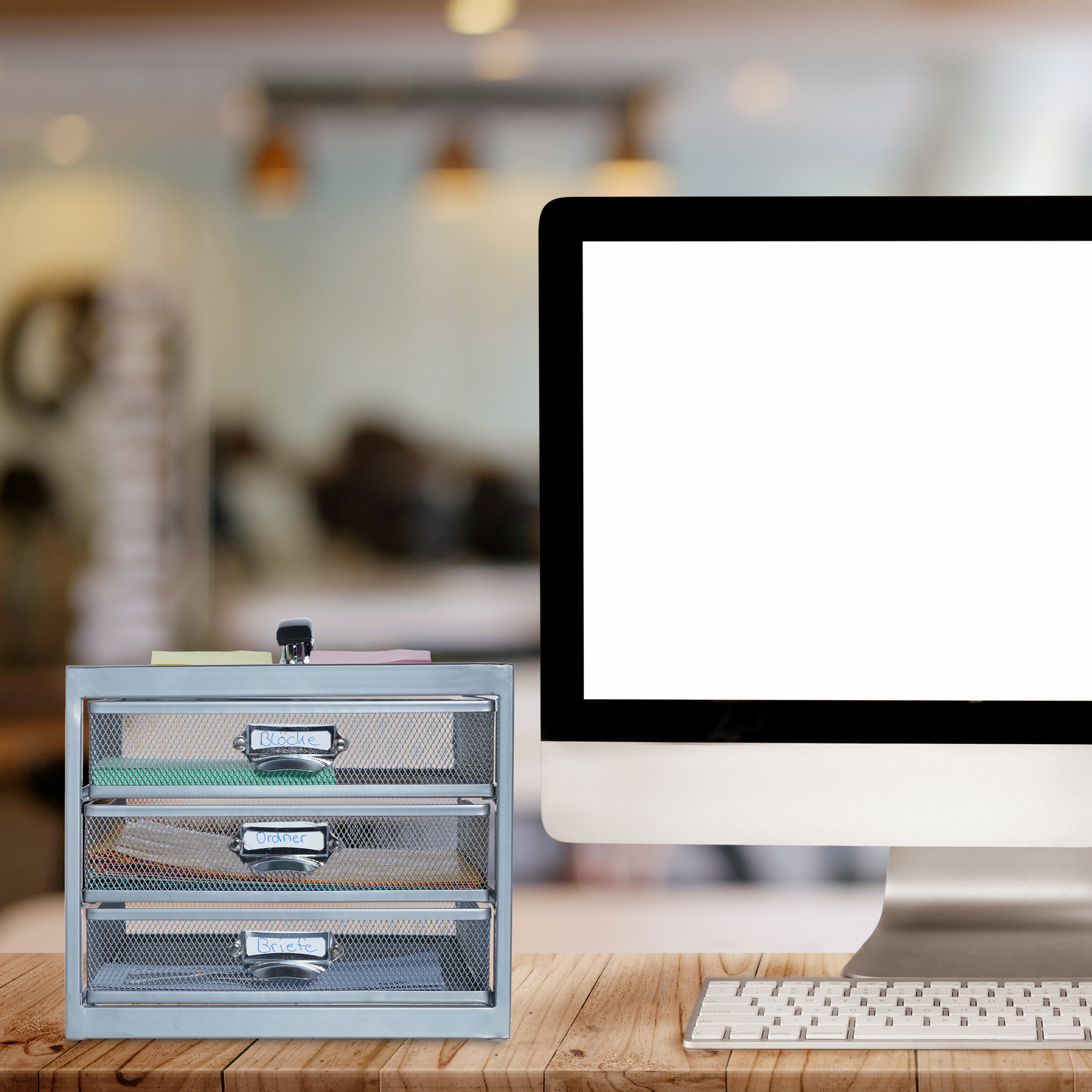 Corbeille-a-courrier-porte-documents-organiseur-porte-revues-3-tiroirs miniature 7