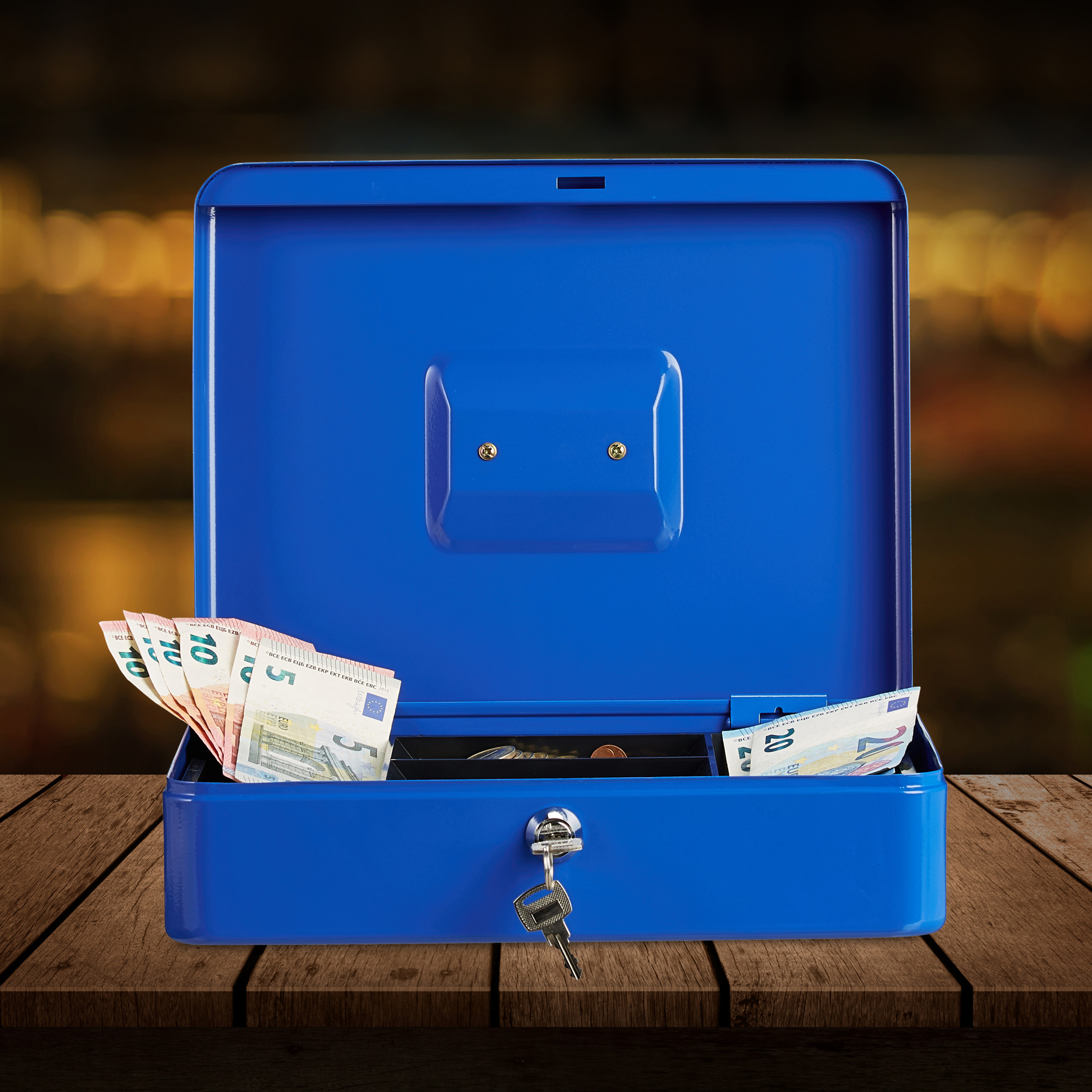 Lockable-Cash-Box-Large-Locking-Money-Box-with-2-Keys-Metal-Case-Safe thumbnail 11
