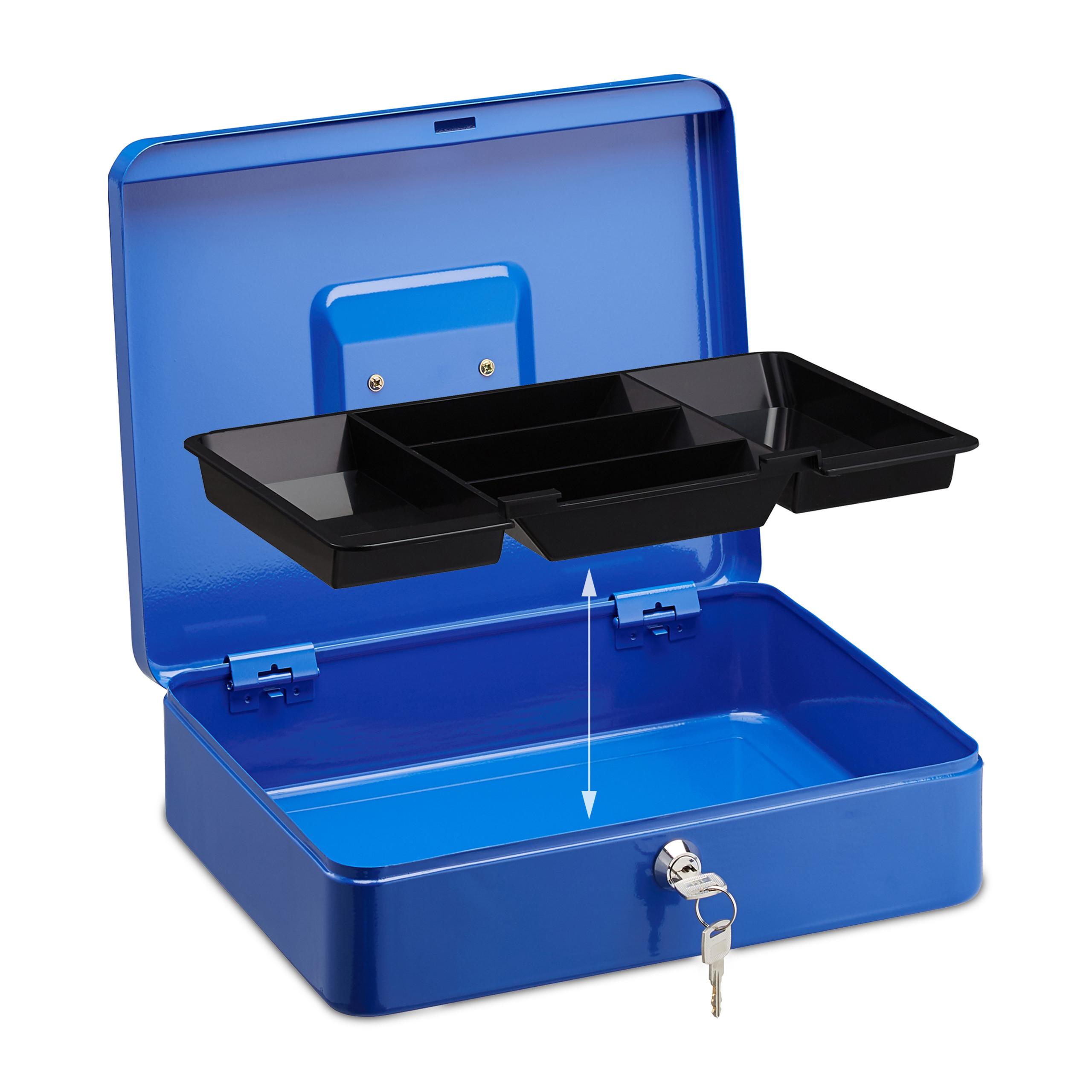 Lockable-Cash-Box-Large-Locking-Money-Box-with-2-Keys-Metal-Case-Safe thumbnail 14