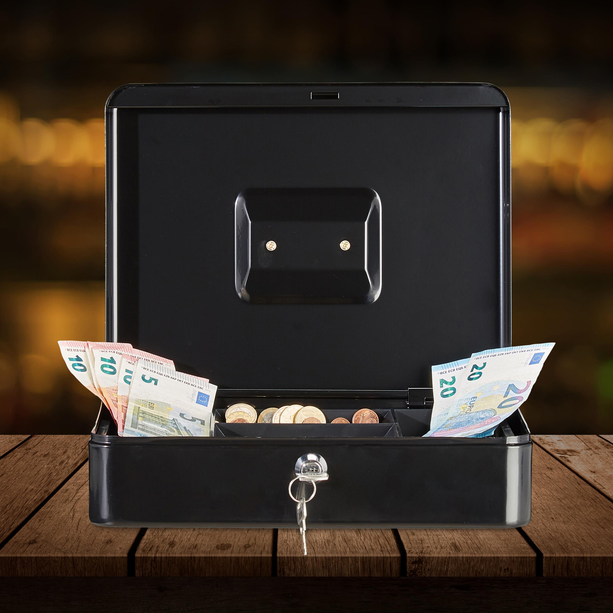 Lockable-Cash-Box-Large-Locking-Money-Box-with-2-Keys-Metal-Case-Safe thumbnail 4