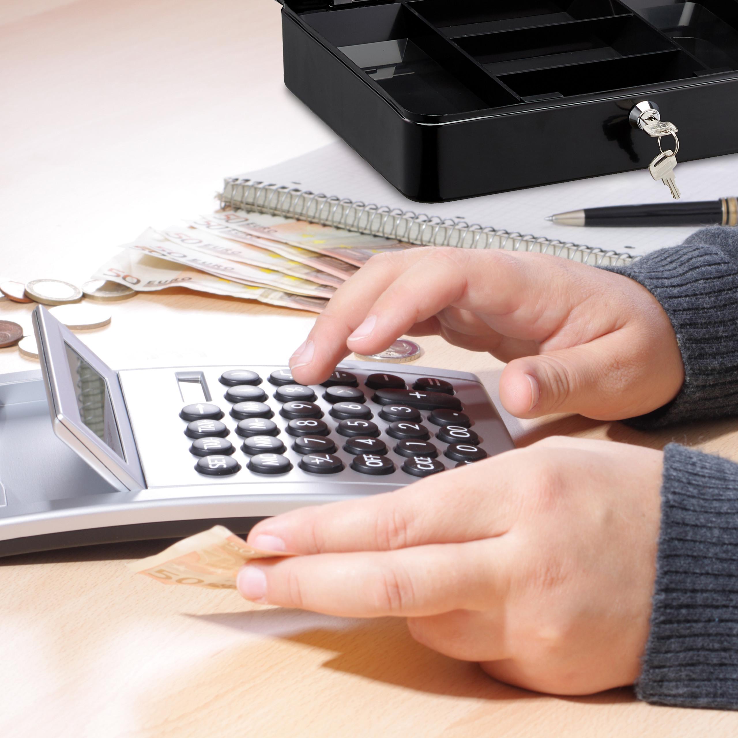 Lockable-Cash-Box-Large-Locking-Money-Box-with-2-Keys-Metal-Case-Safe thumbnail 6