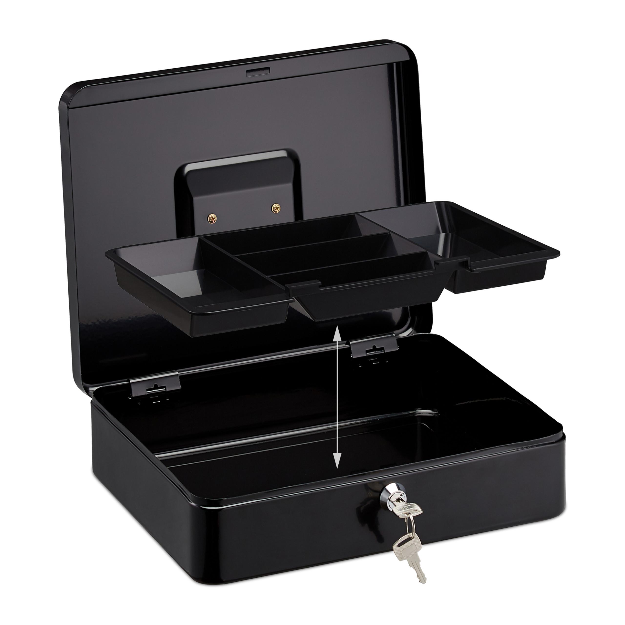 Lockable-Cash-Box-Large-Locking-Money-Box-with-2-Keys-Metal-Case-Safe thumbnail 7