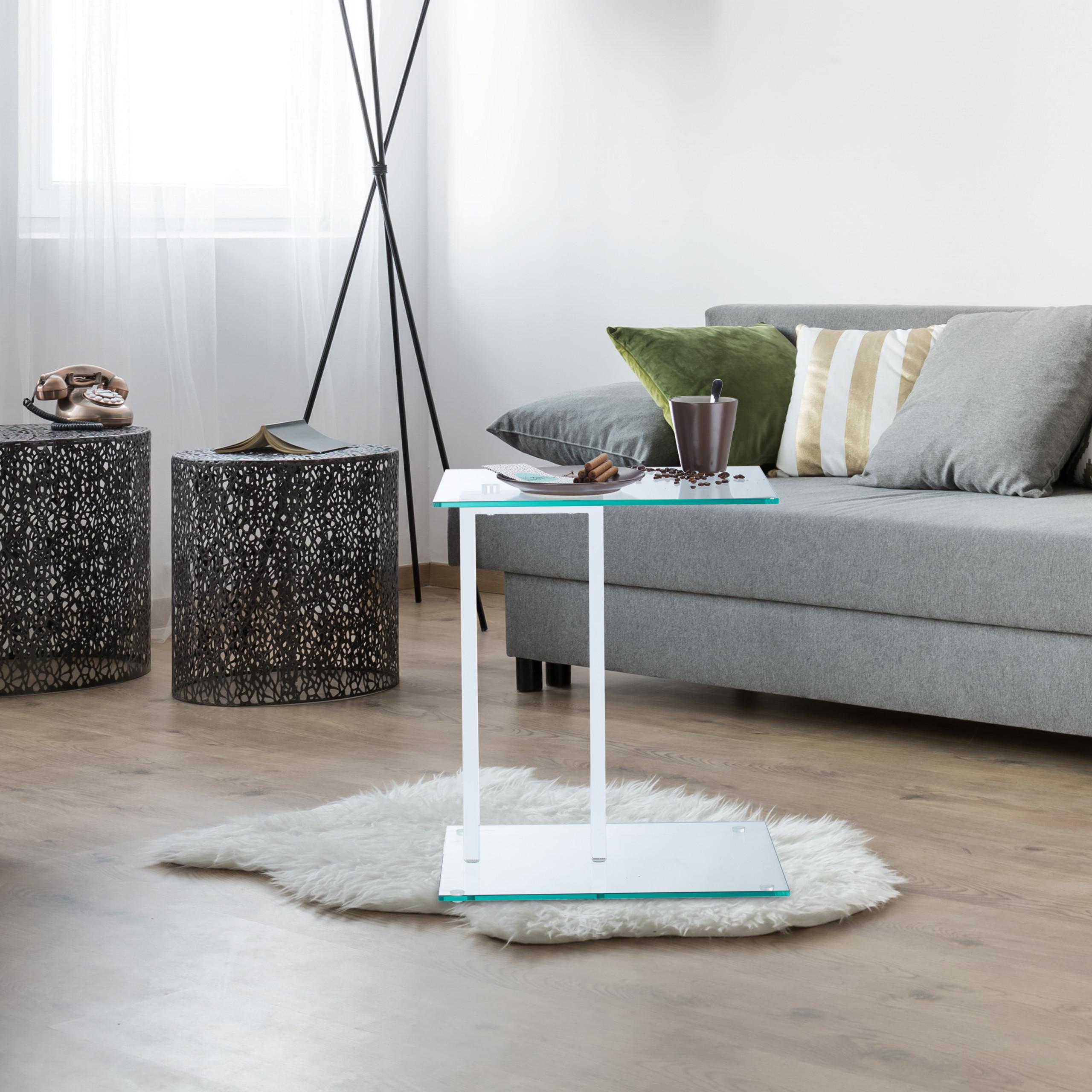 Dettagli su Tavolino Vetro Tavolinetto da Soggiorno Acciaio Ripiano  Comodino Bianco