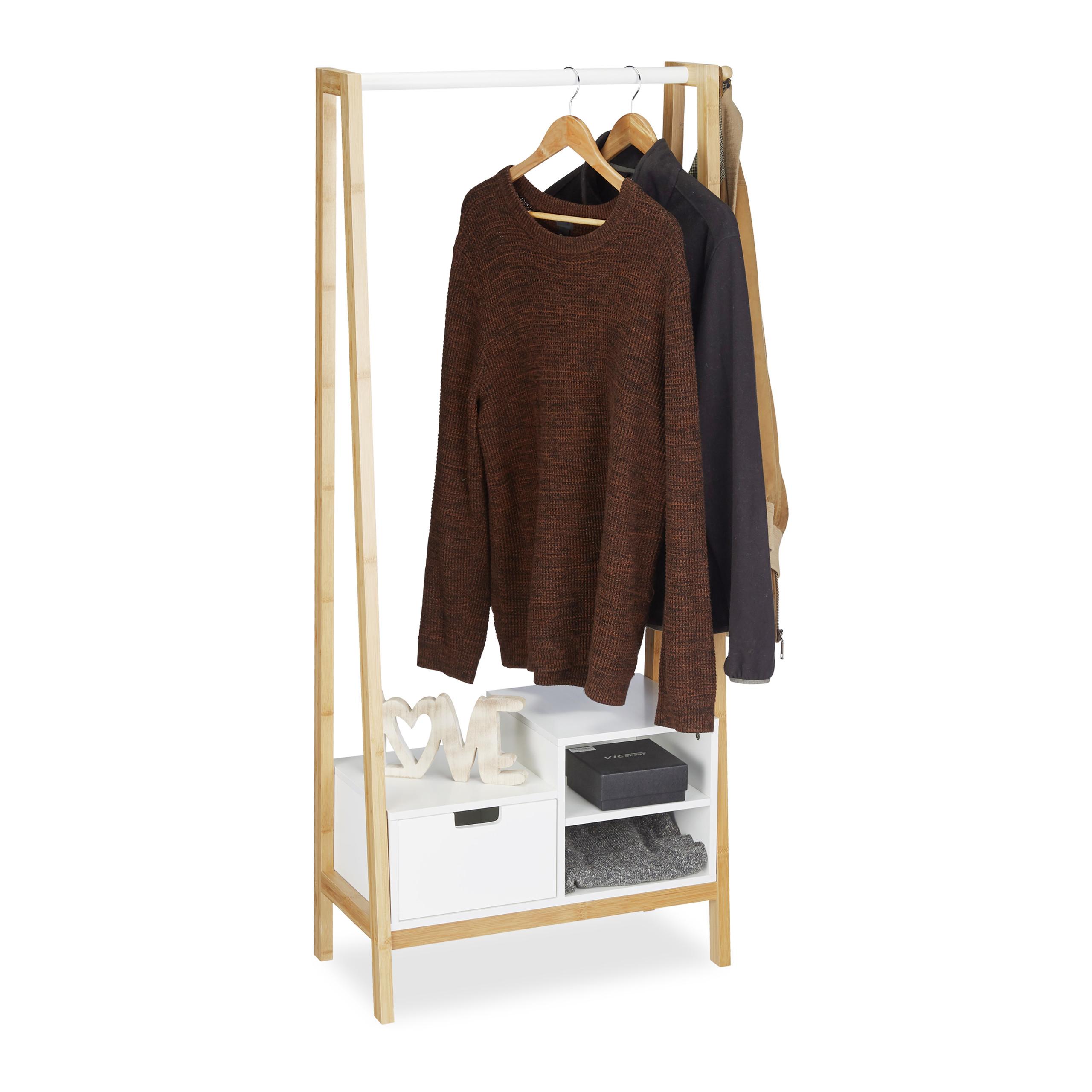 Tringle De Porte Entree détails sur portant en bambou penderie porte vêtements bois tringle  rangement tiroir entrée
