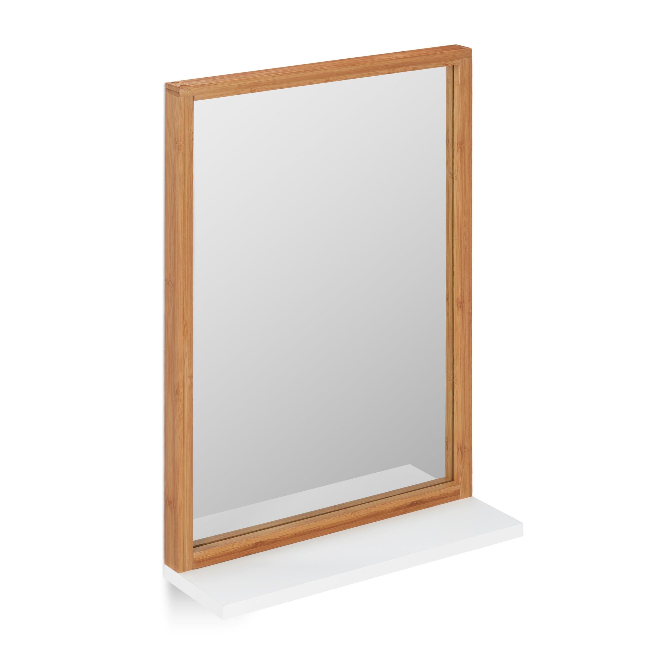 Wandspiegel Flur Badspiegel Mit Ablage Bambus MDF