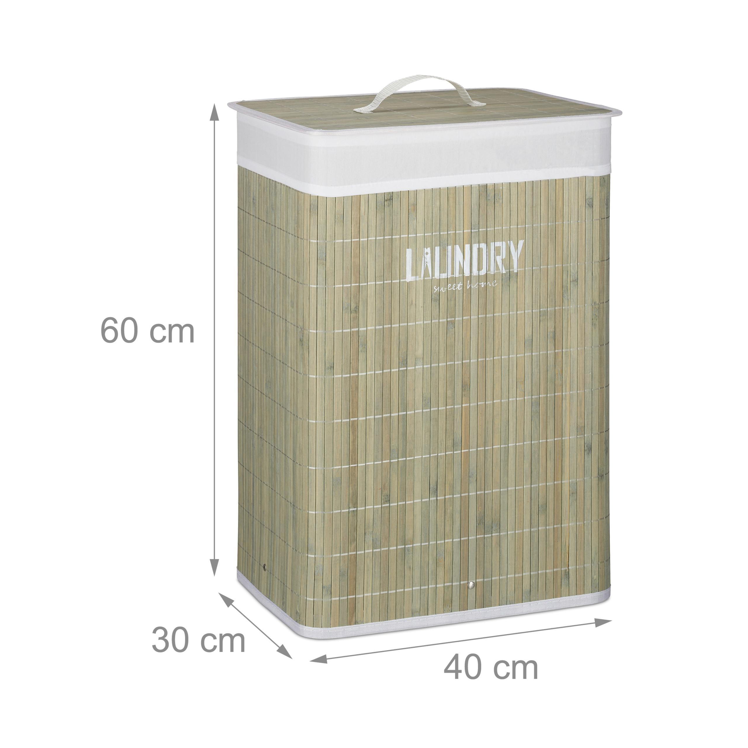 miniatuur 13 - Wasmand bamboe opvouwbaar waszak met deksel was mand