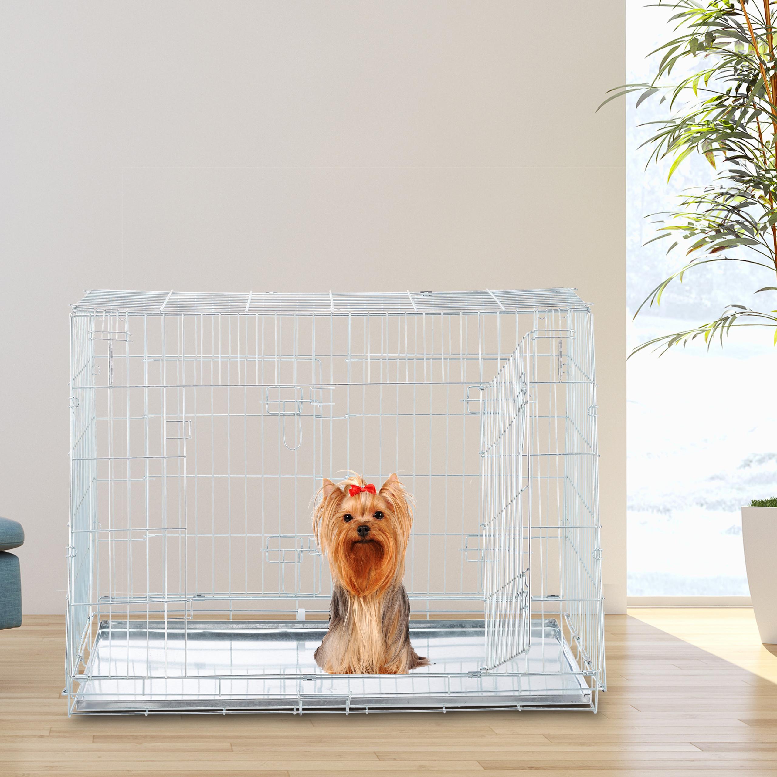 Hondenbench-dubbel-transportbench-transportbox-draadkooi-hond-L-XL-opvouwbaar miniatuur 3