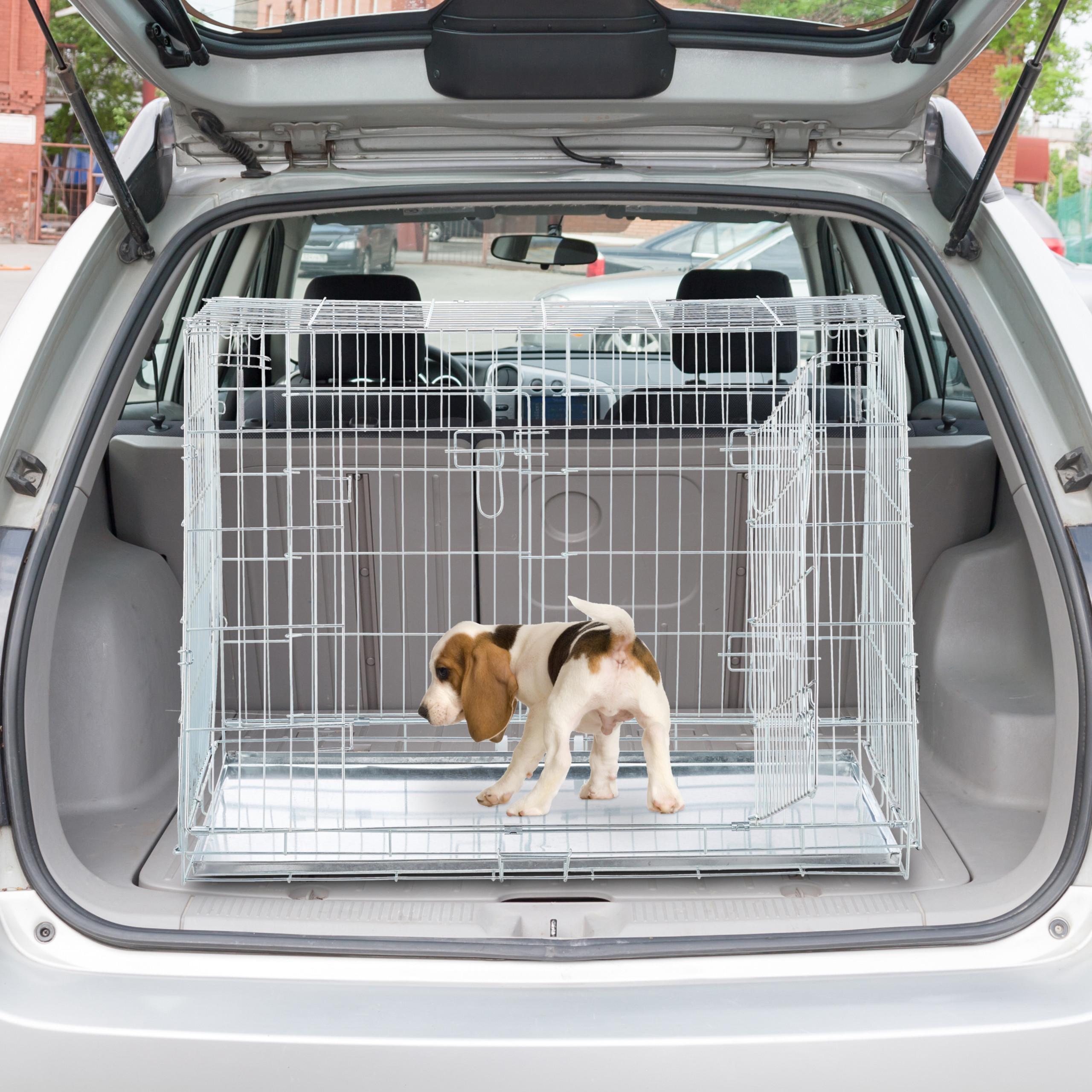 Hondenbench-dubbel-transportbench-transportbox-draadkooi-hond-L-XL-opvouwbaar miniatuur 4