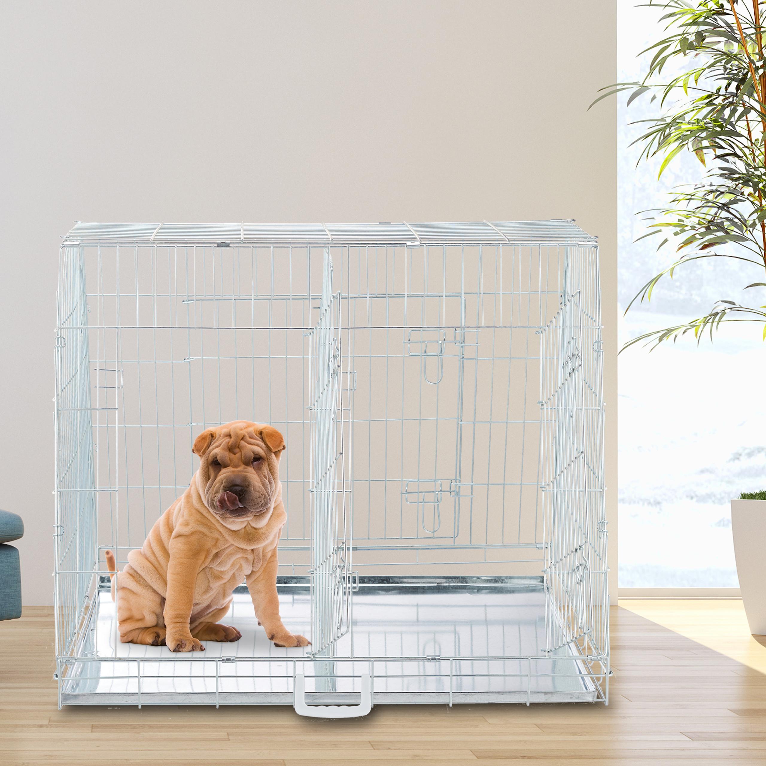 Hondenbench-dubbel-transportbench-transportbox-draadkooi-hond-L-XL-opvouwbaar miniatuur 11