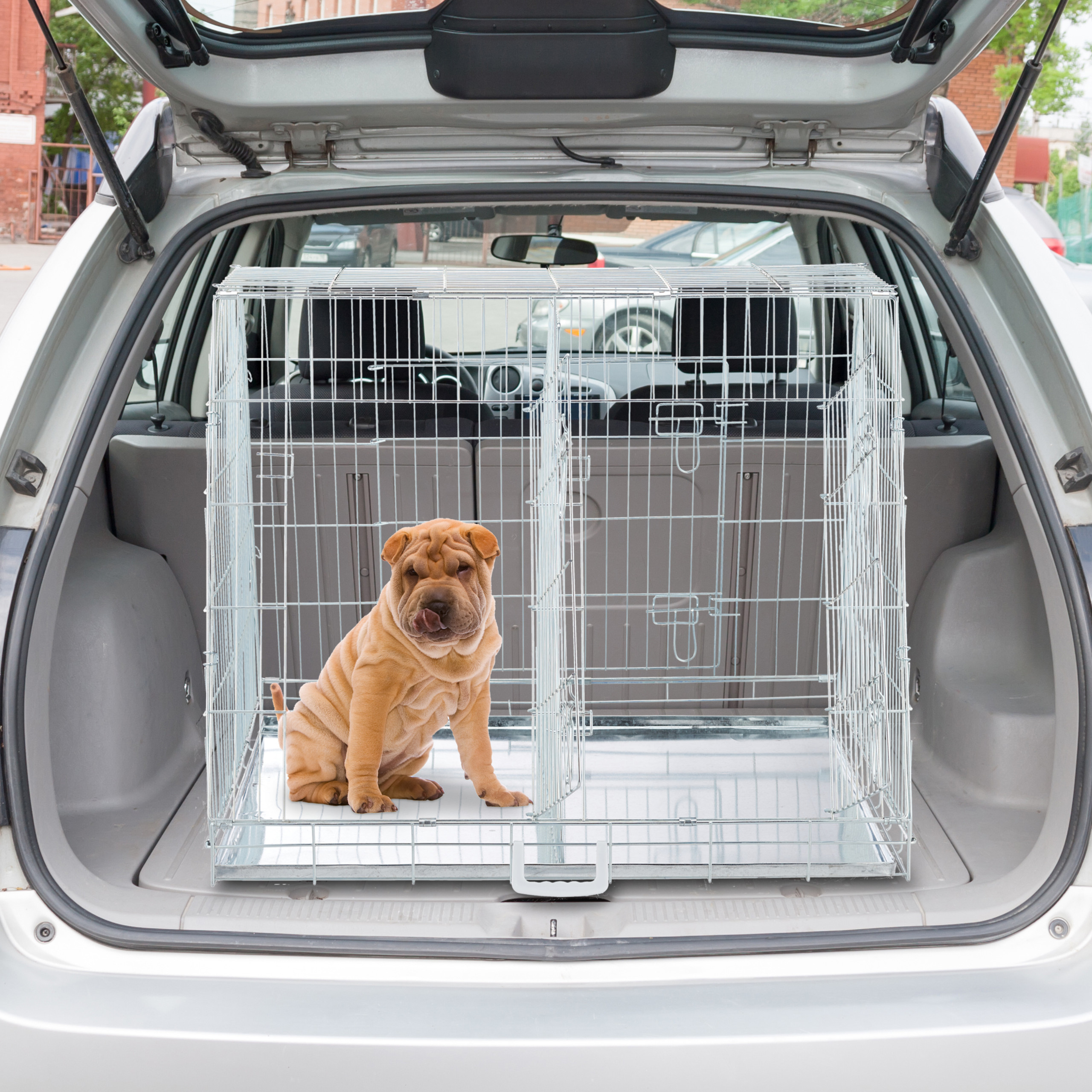 Hondenbench-dubbel-transportbench-transportbox-draadkooi-hond-L-XL-opvouwbaar miniatuur 12