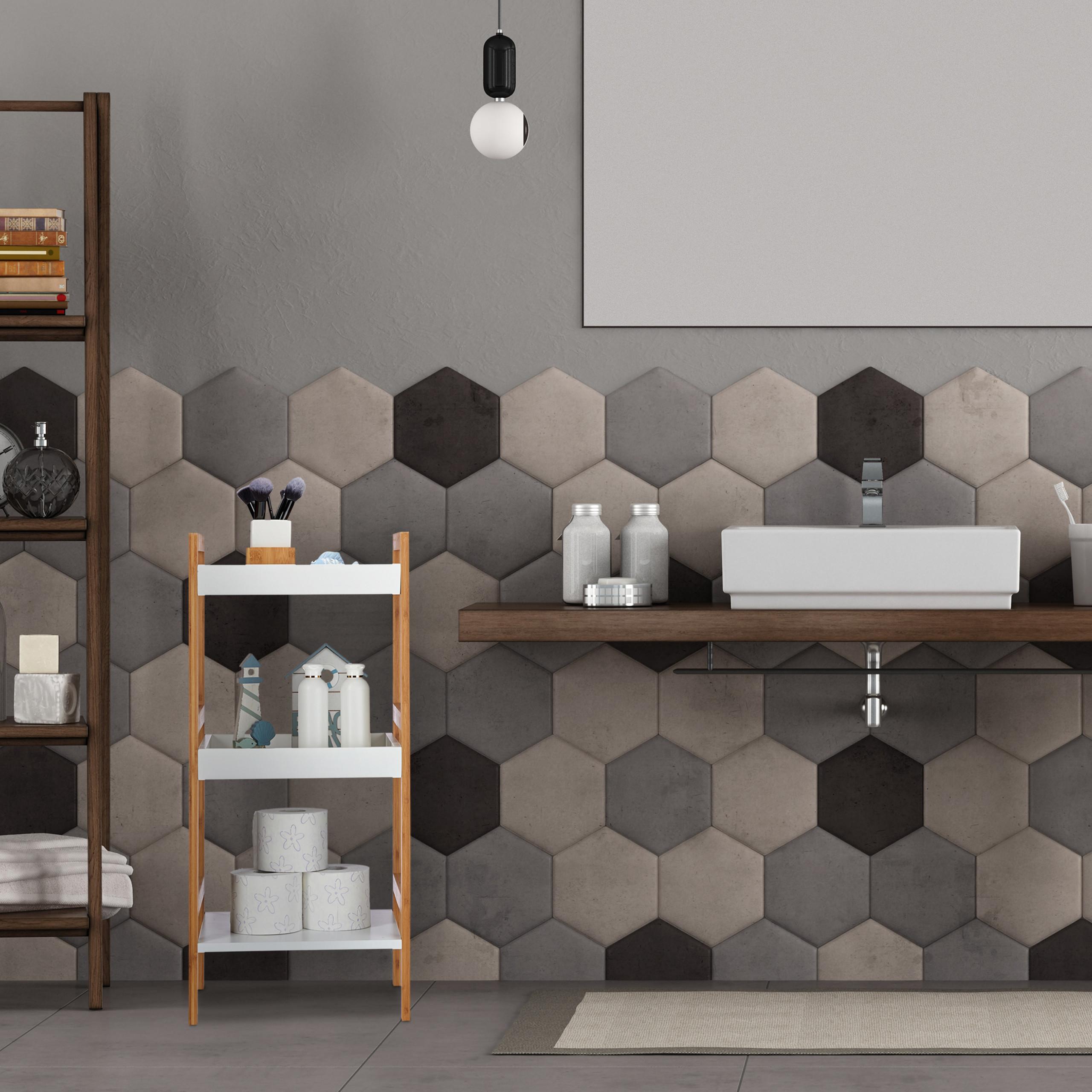Dettagli su Mobiletto bagno con mensole, scaffale da cucina in bambù,  aperto, autoportante