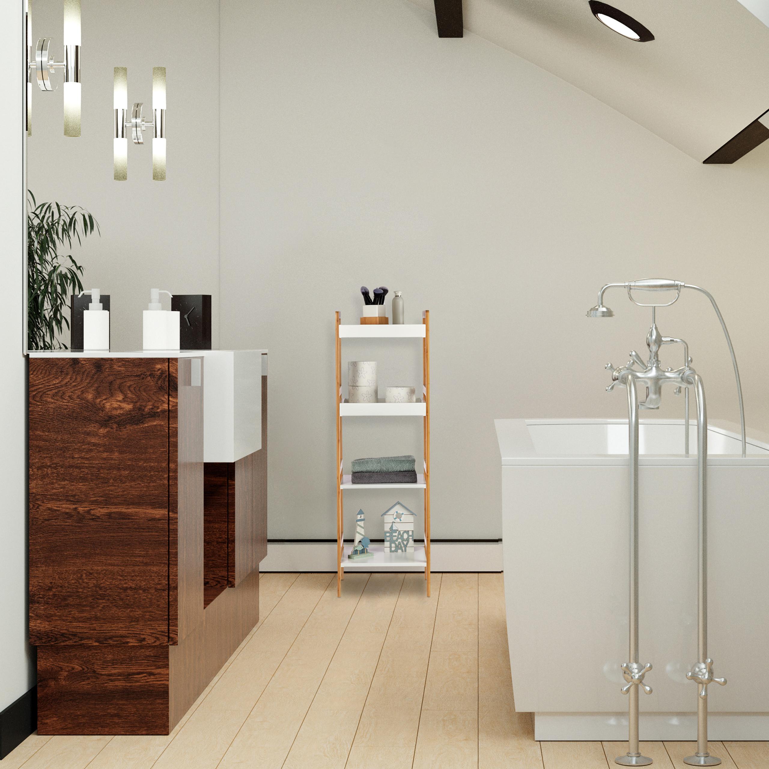 Detalles de Estantería baño bambú, Balda alta cocina, Organizador estantes,  Mueble auxiliar