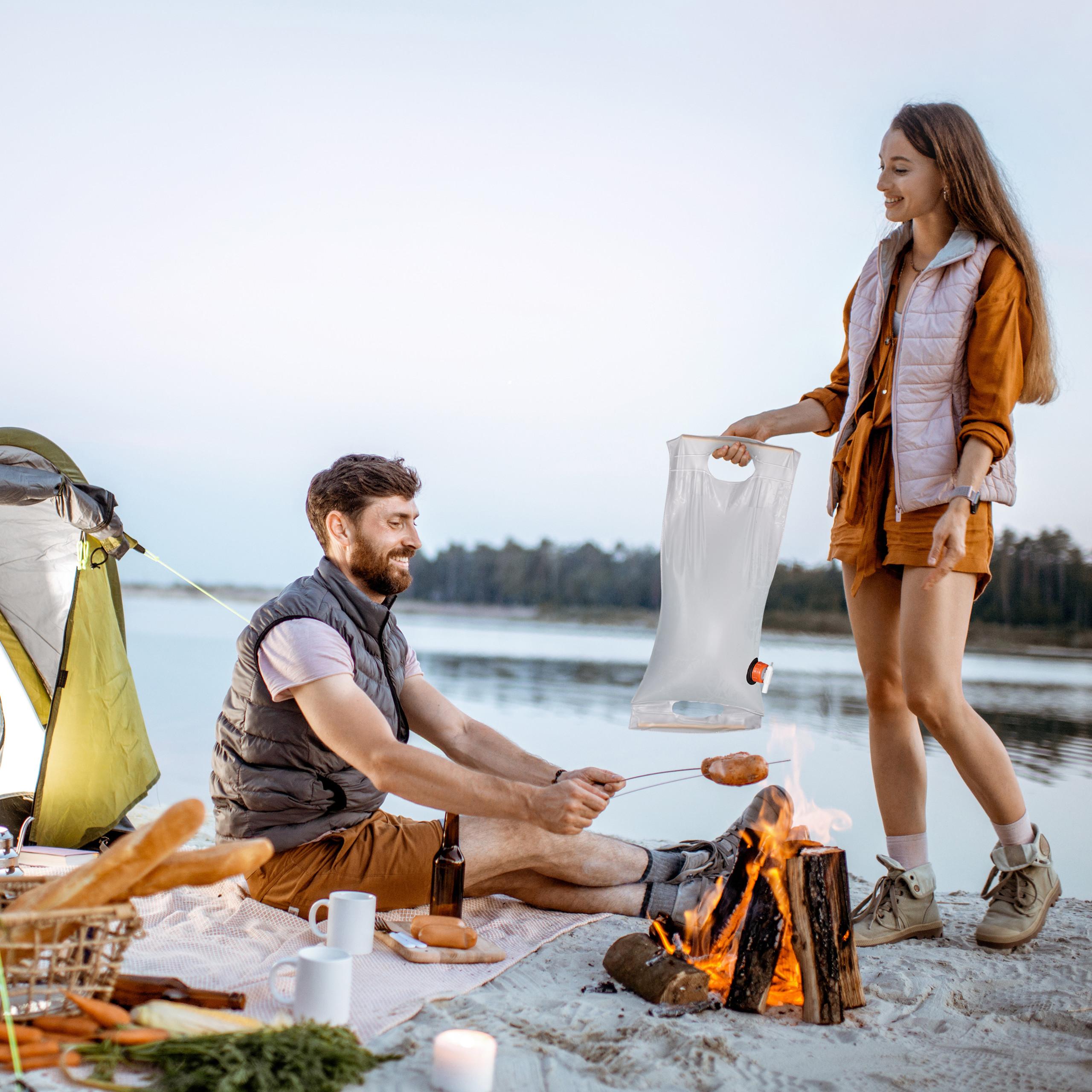 Camping lebensmittelecht Relaxdays Faltkanister 10 Liter transparent PVC Wasserkanister faltbar Kanister mit Hahn