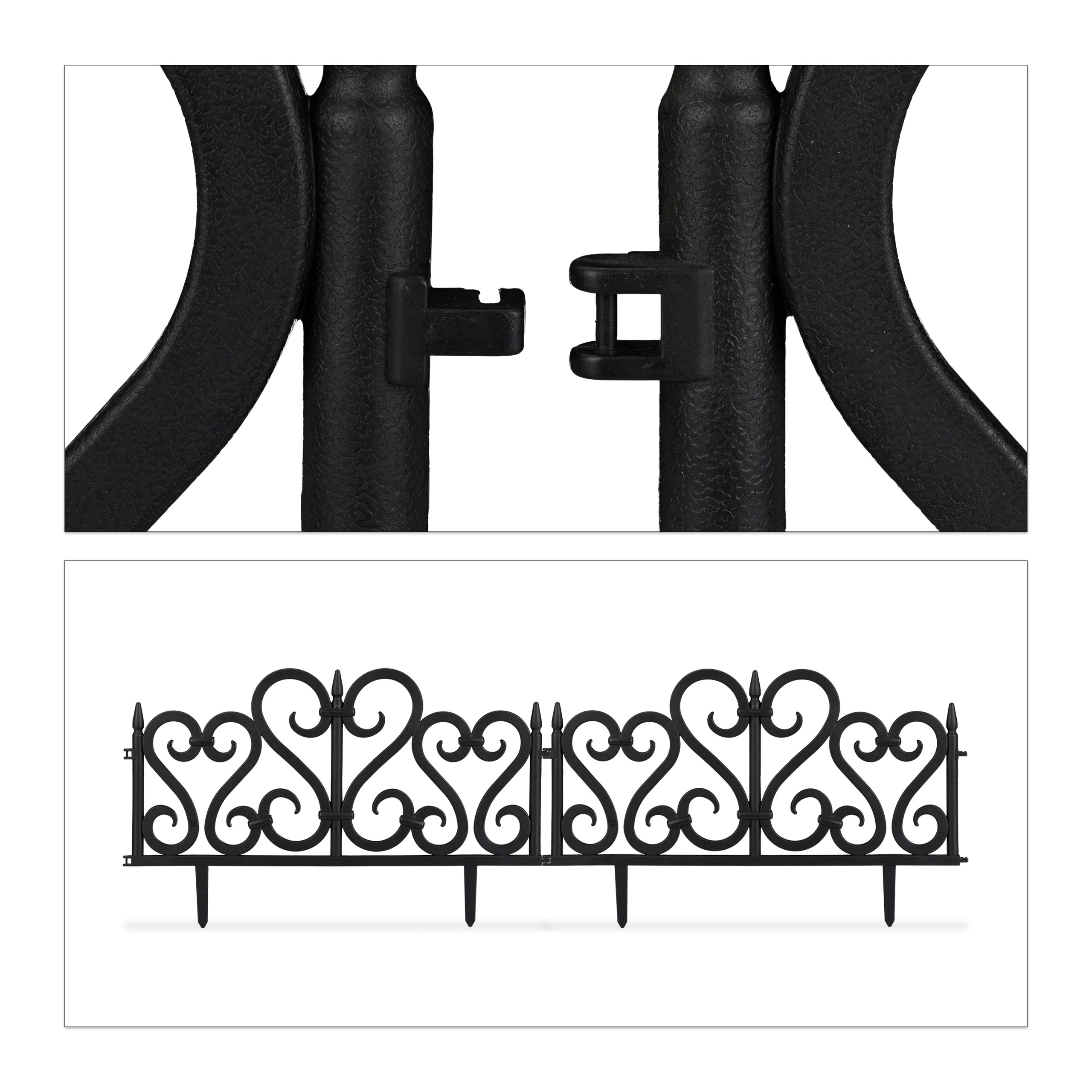 Valla-jardin-Borde-cesped-Bordillo-limitador-jardin-Set-4-separadores-cesped miniatura 14