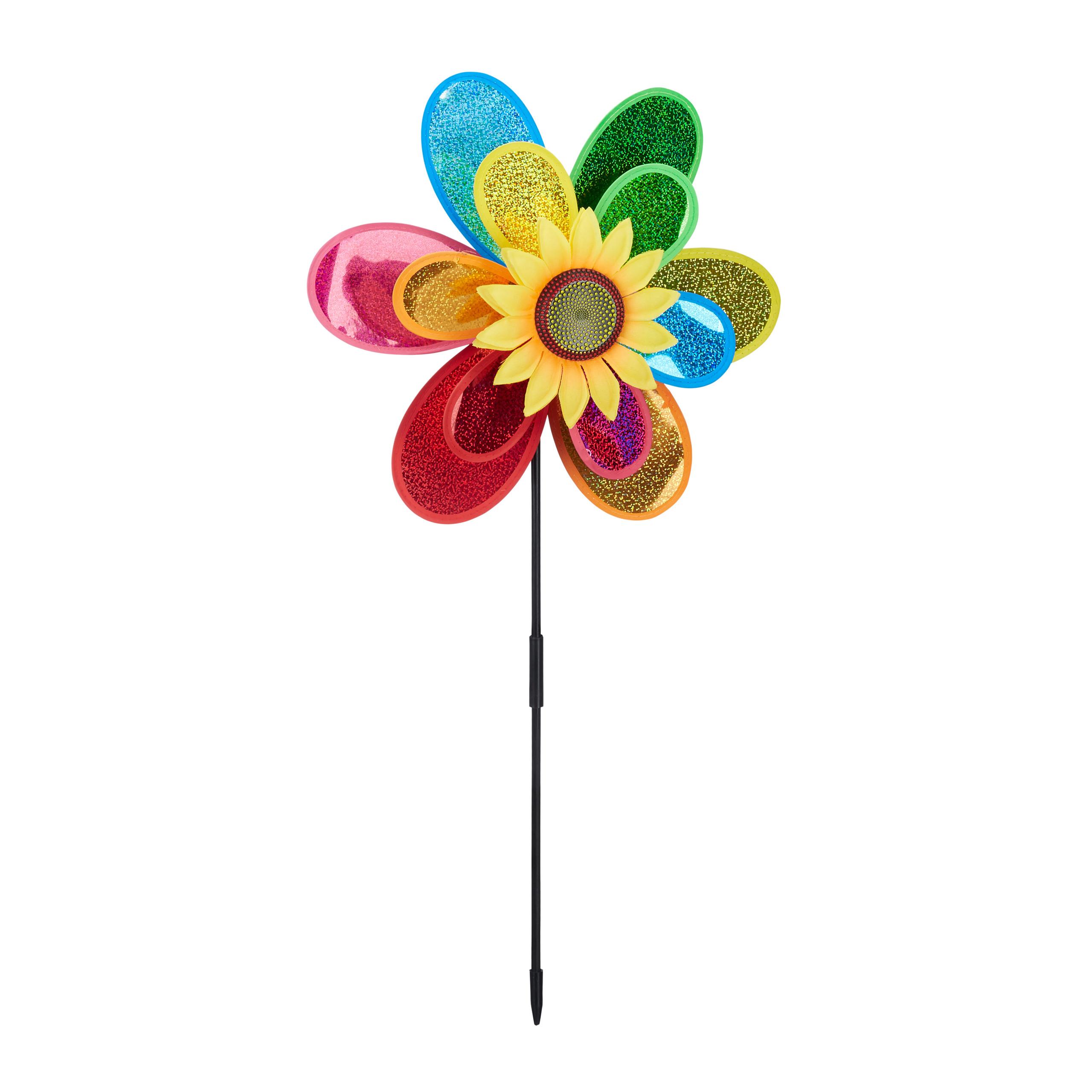 Windrad Gartendeko Bunt Gartenstecker Windmühle Blume