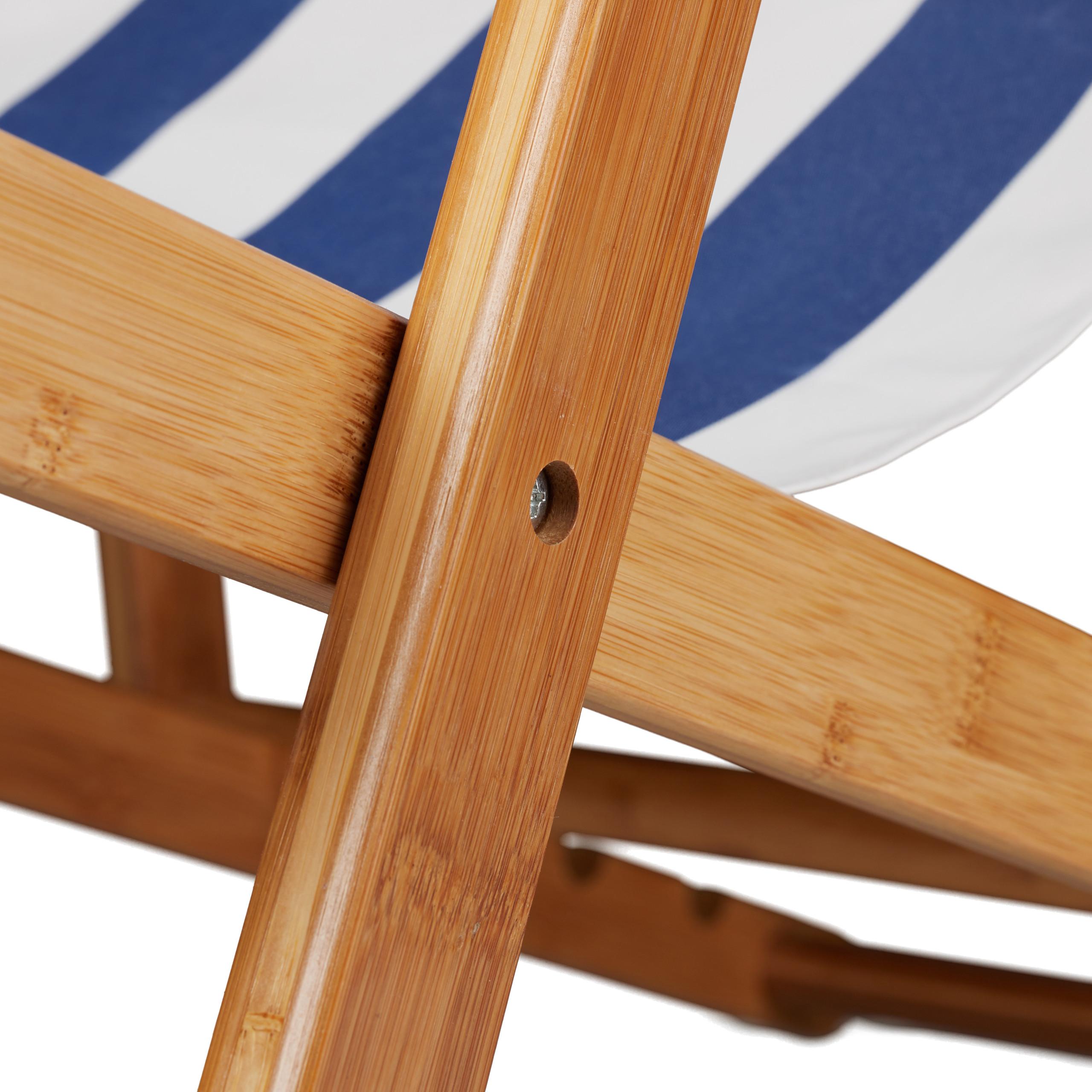 Détails sur Chaise pliante lot de 2 en bambou tissu chaise de jardin balcon  plage