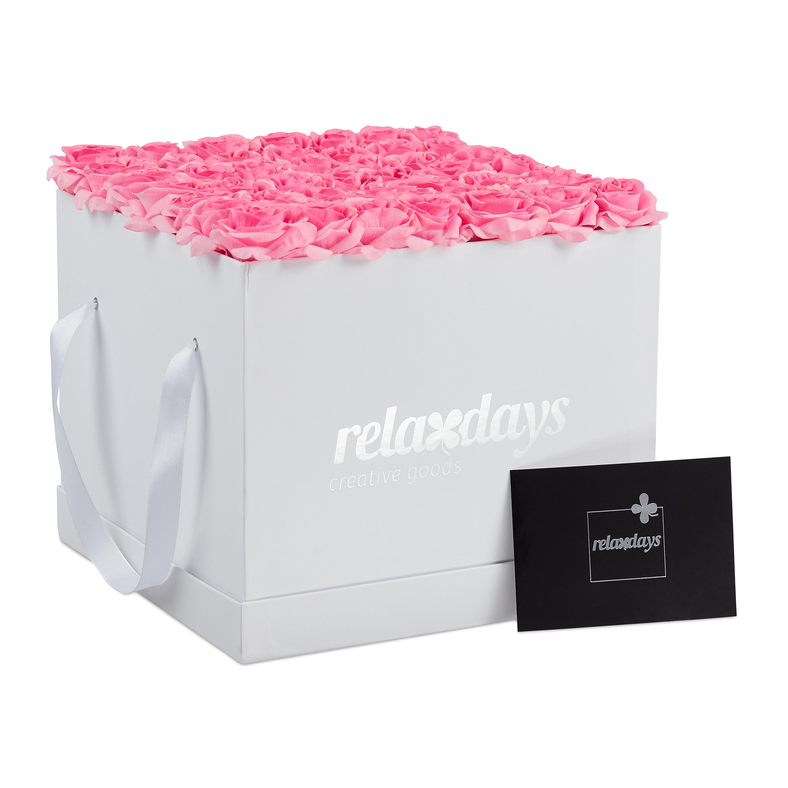 Rosenbox-Flowerbox-49-Kunstblumen-Valentinstag-Blumenbox-Deko-Ewige-Rosen-eckig Indexbild 5