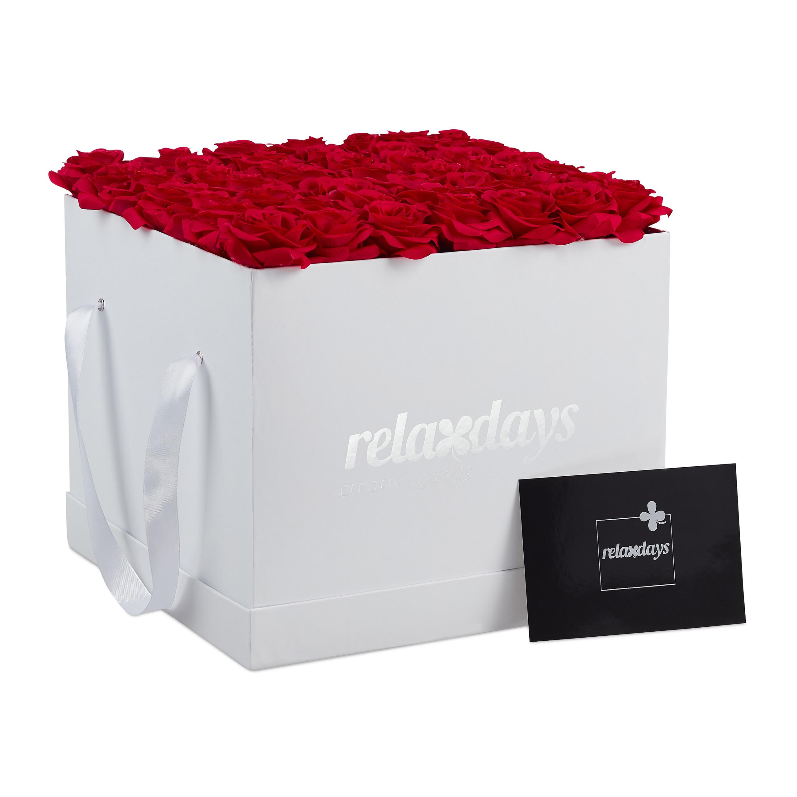 Rosenbox-Flowerbox-49-Kunstblumen-Valentinstag-Blumenbox-Deko-Ewige-Rosen-eckig Indexbild 13