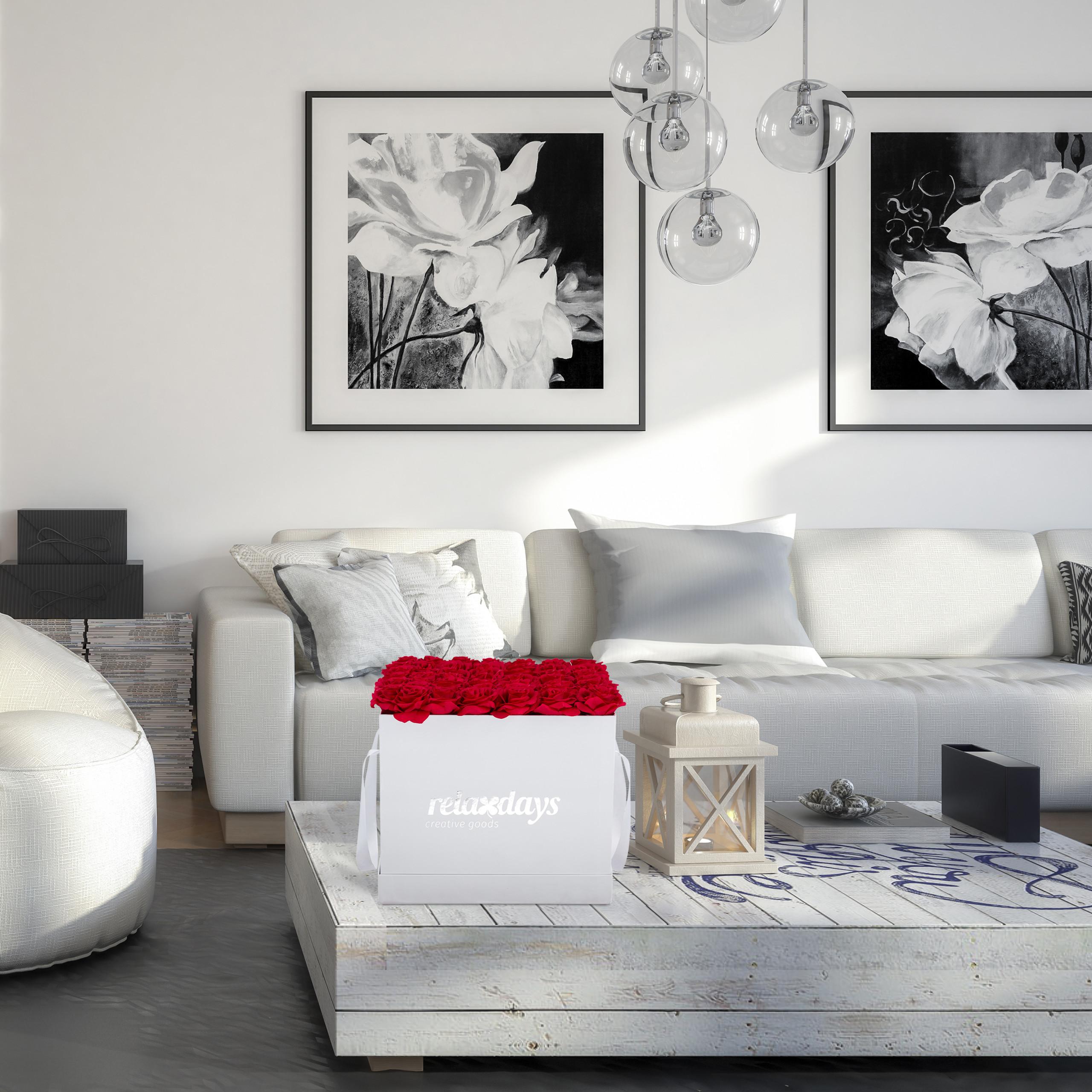 Rosenbox-Flowerbox-49-Kunstblumen-Valentinstag-Blumenbox-Deko-Ewige-Rosen-eckig Indexbild 12