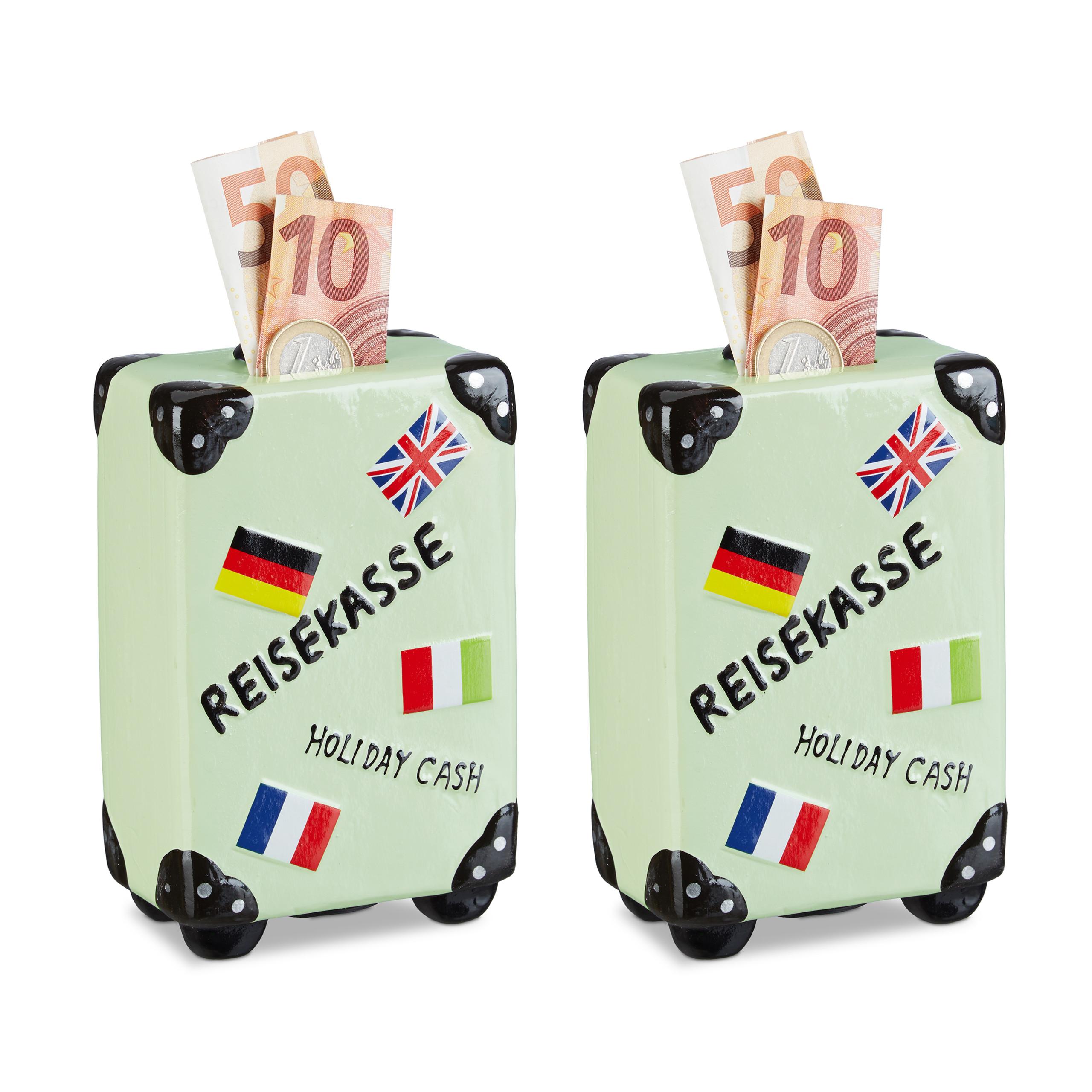 Lot de 10 Tirelires valise Boîte épargnes Vacances Caisse budget voyage Rouge