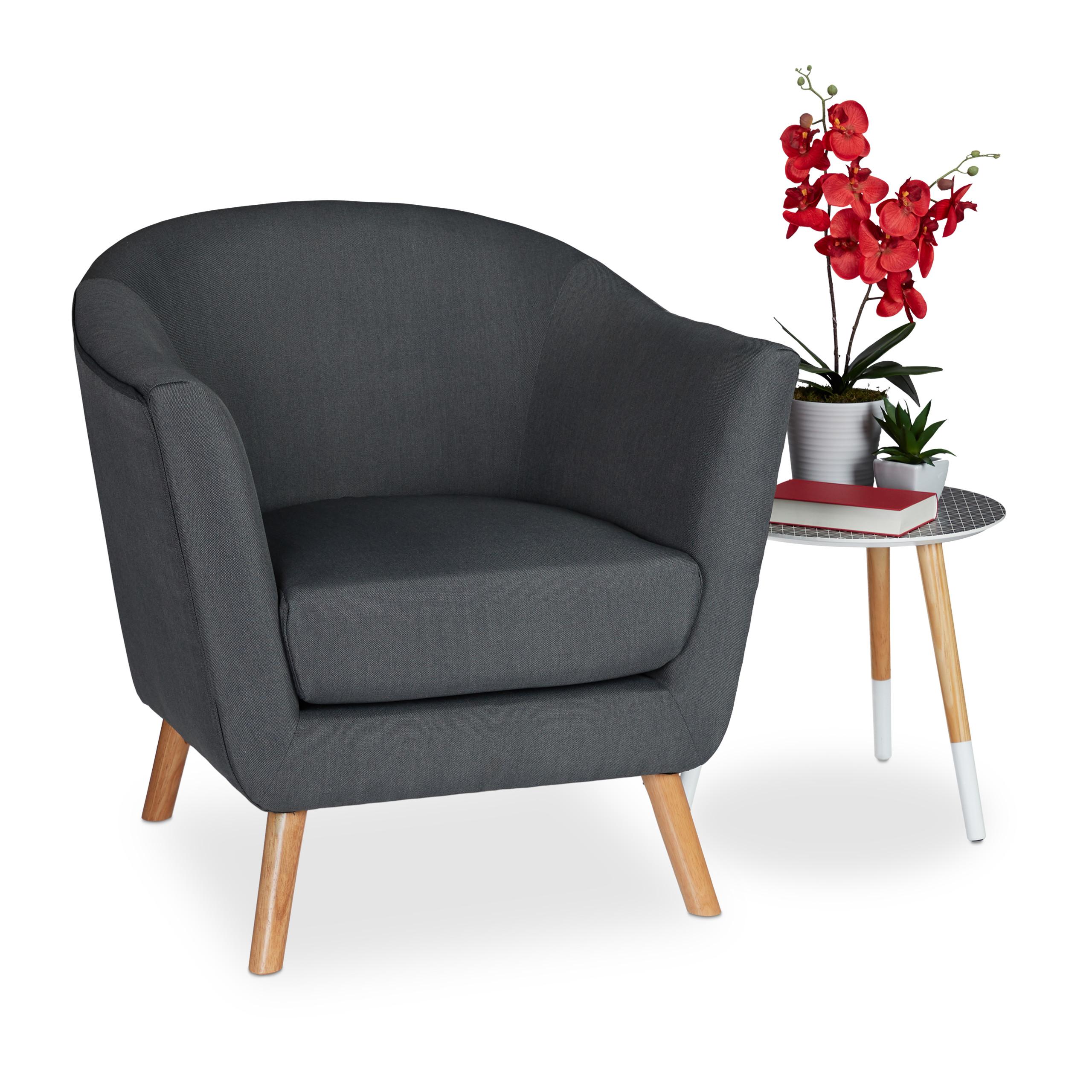 Détails sur Fauteuil Retro, années 50, Chaise salon vintage Lounge Club  accoudoirs gris