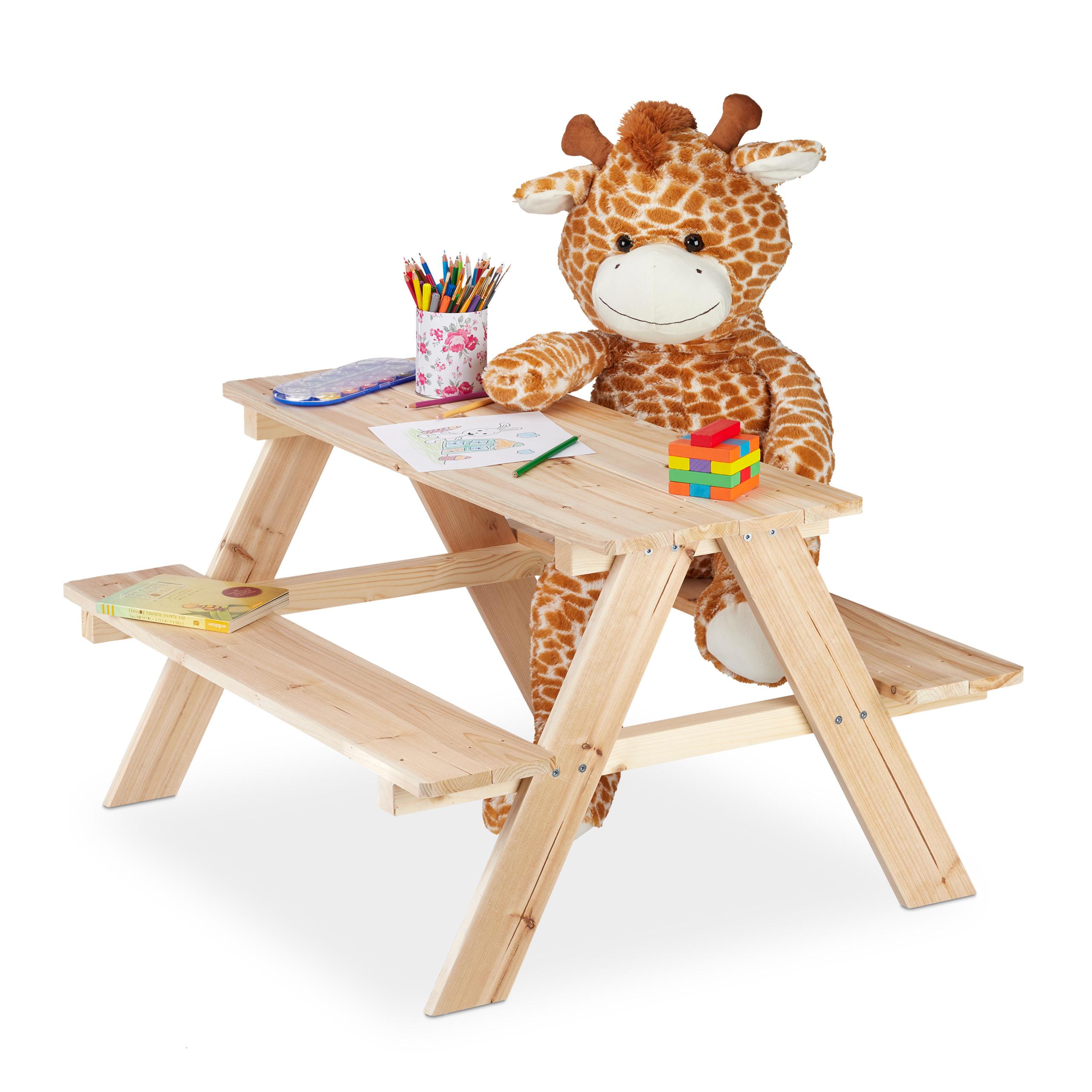Detalles de Mobiliario infantil jardín, Banco jardín madera, Mesa de  juegos, Muebles jardín