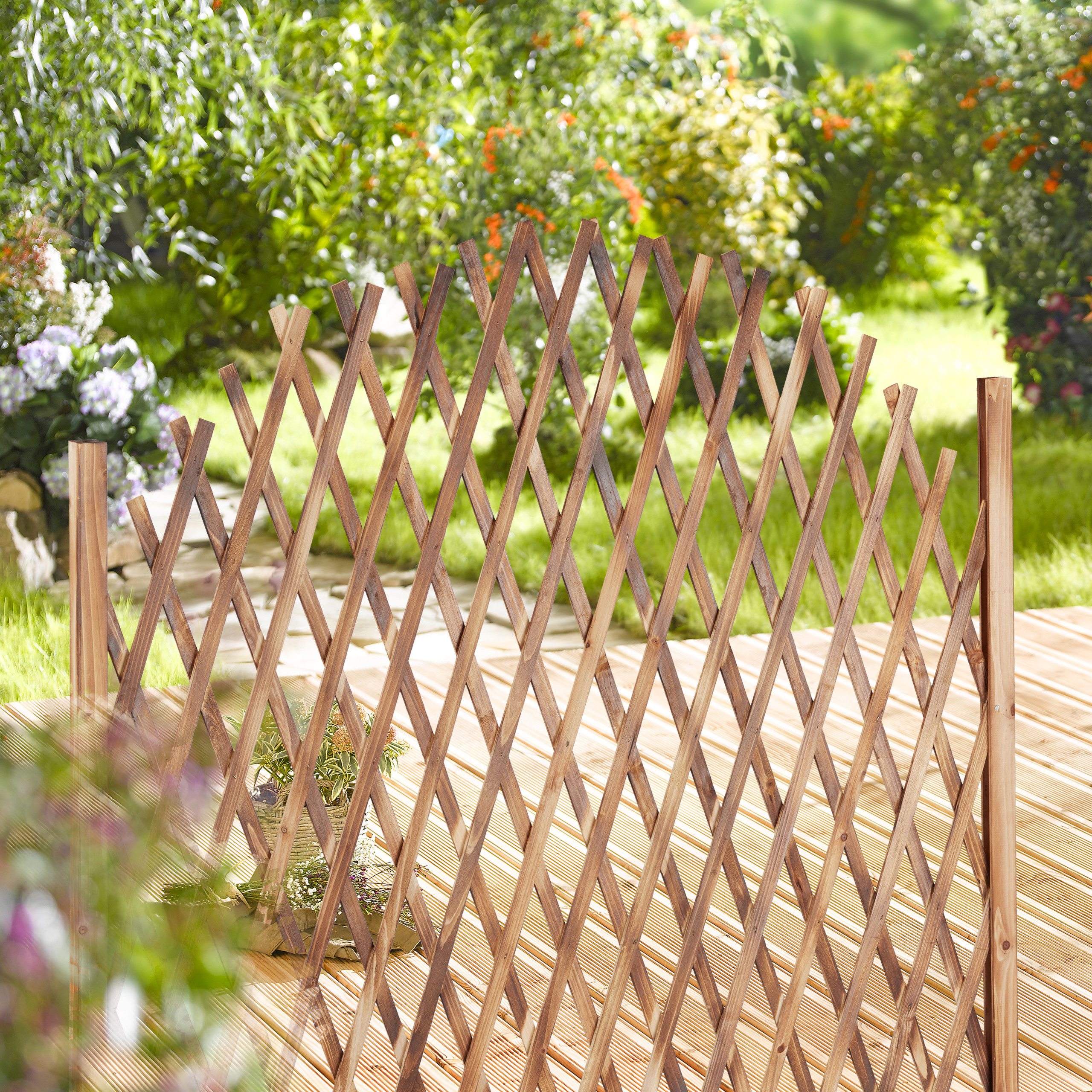Détails sur Treillis jardin en bois extensible clôture grillage pliable  plante grimpante