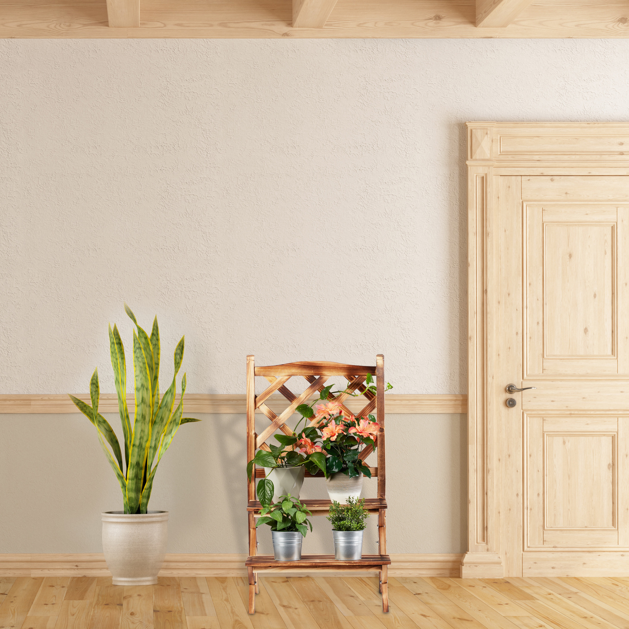 plantenrek-hout-plantentrap-plantenklimrek-bloemenrek-bloementrap miniatuur 12
