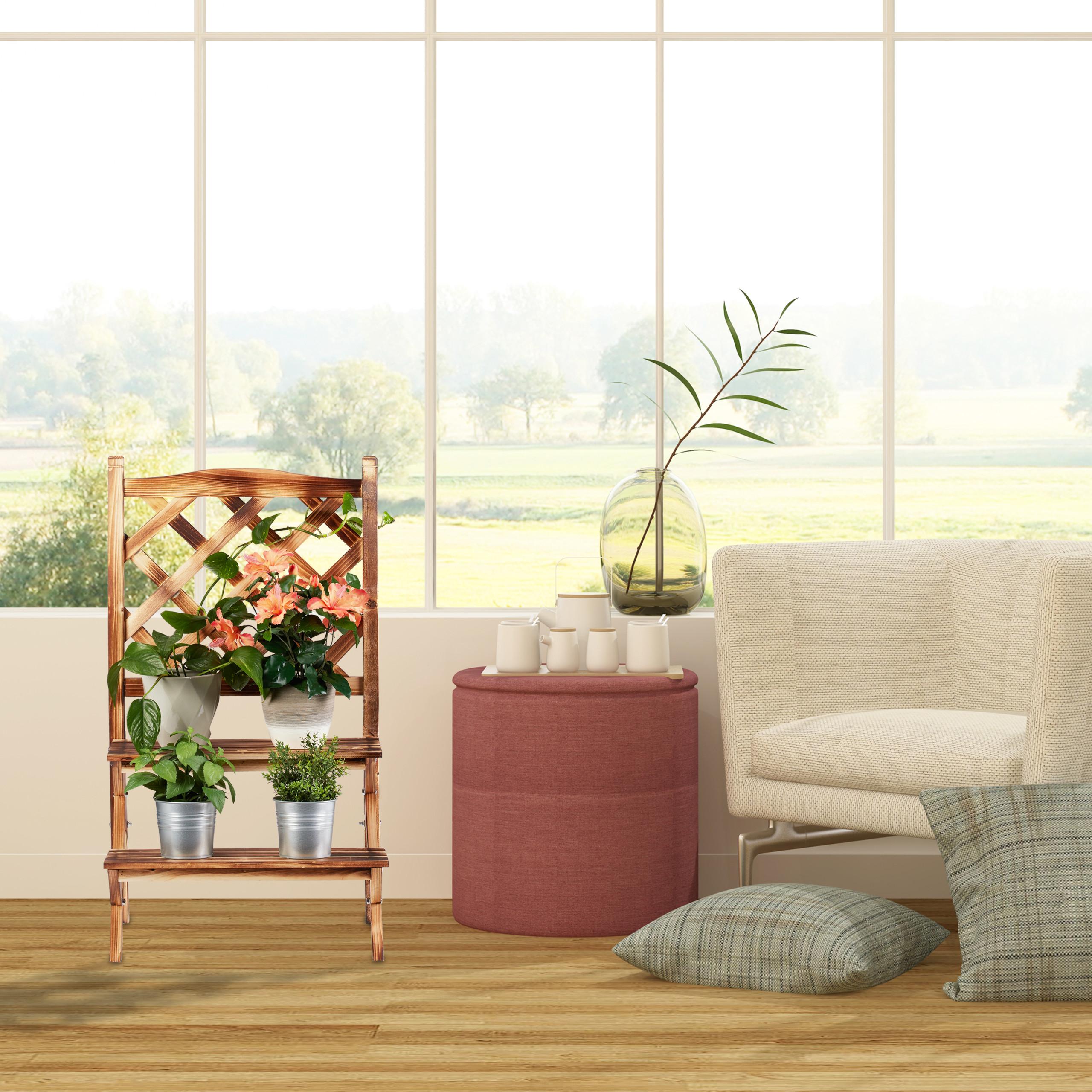 plantenrek-hout-plantentrap-plantenklimrek-bloemenrek-bloementrap miniatuur 14