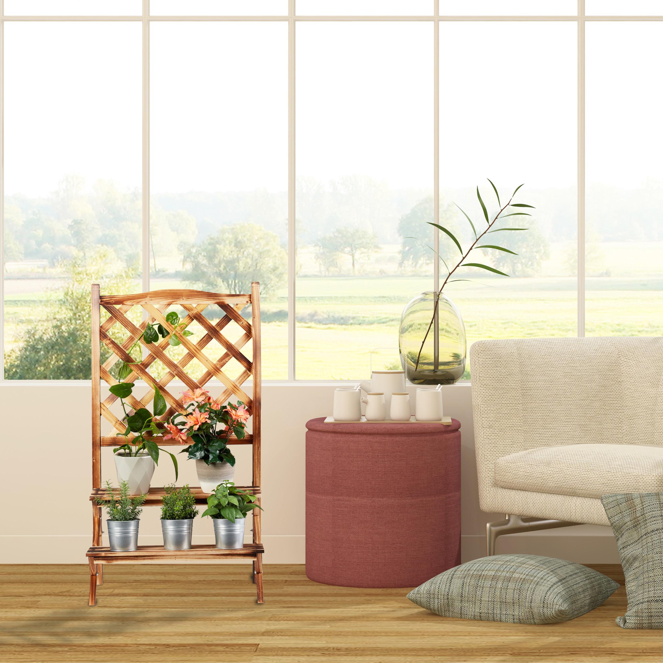 plantenrek-hout-plantentrap-plantenklimrek-bloemenrek-bloementrap miniatuur 3