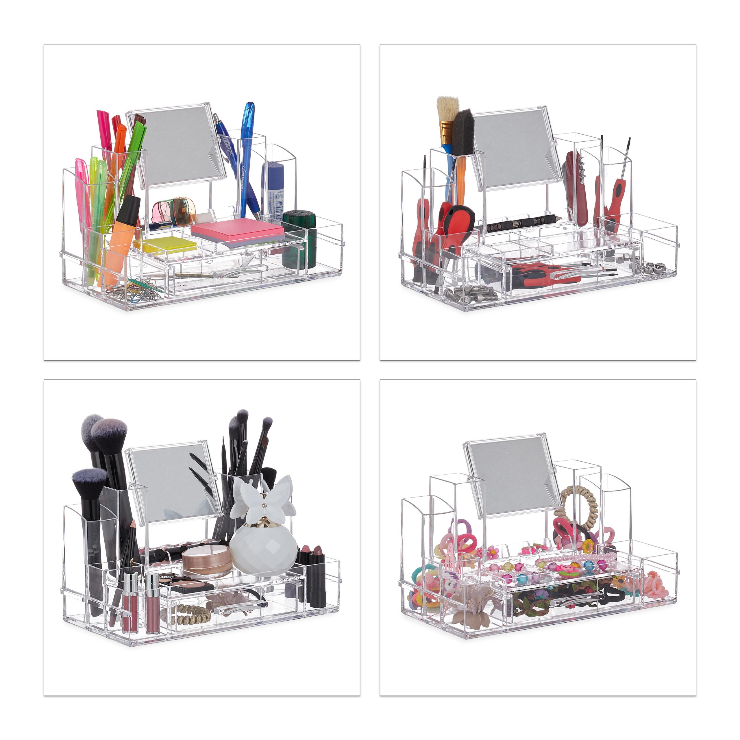 make-up-organizer-acryl-cosmetica-organizer-spiegel-sieradenkist miniatuur 4