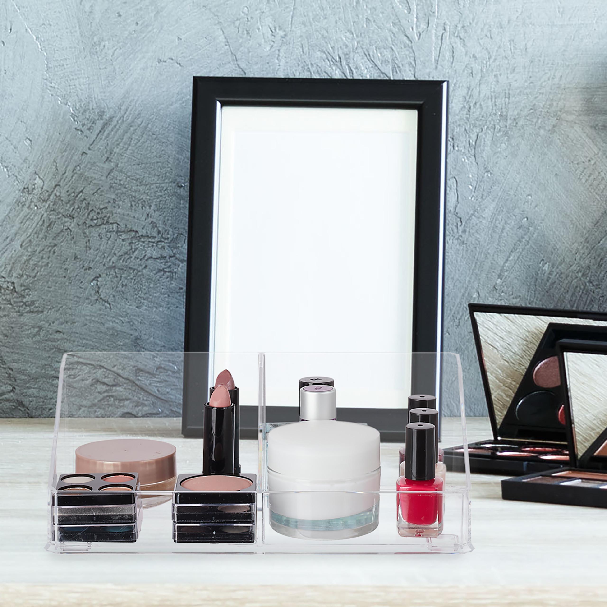 make-up-organizer-cosmetica-organizer-acryl-2-vakken-badkamer-opbergen miniatuur 4