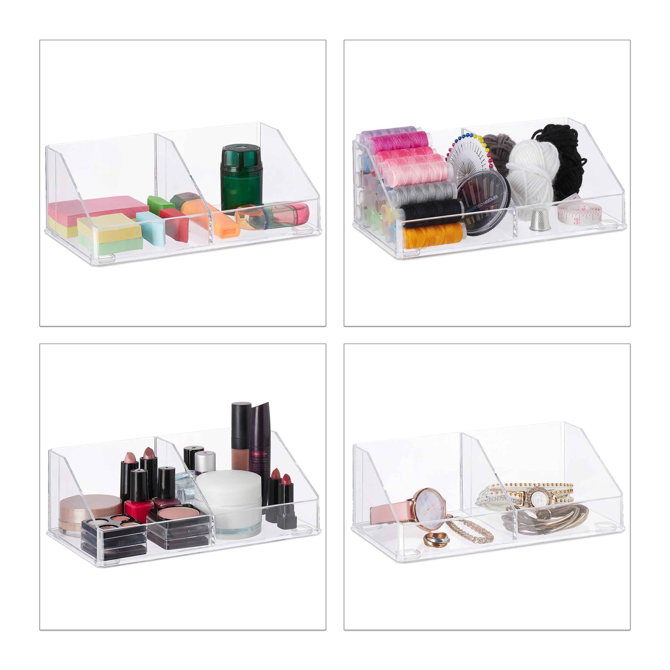 make-up-organizer-cosmetica-organizer-acryl-2-vakken-badkamer-opbergen miniatuur 5