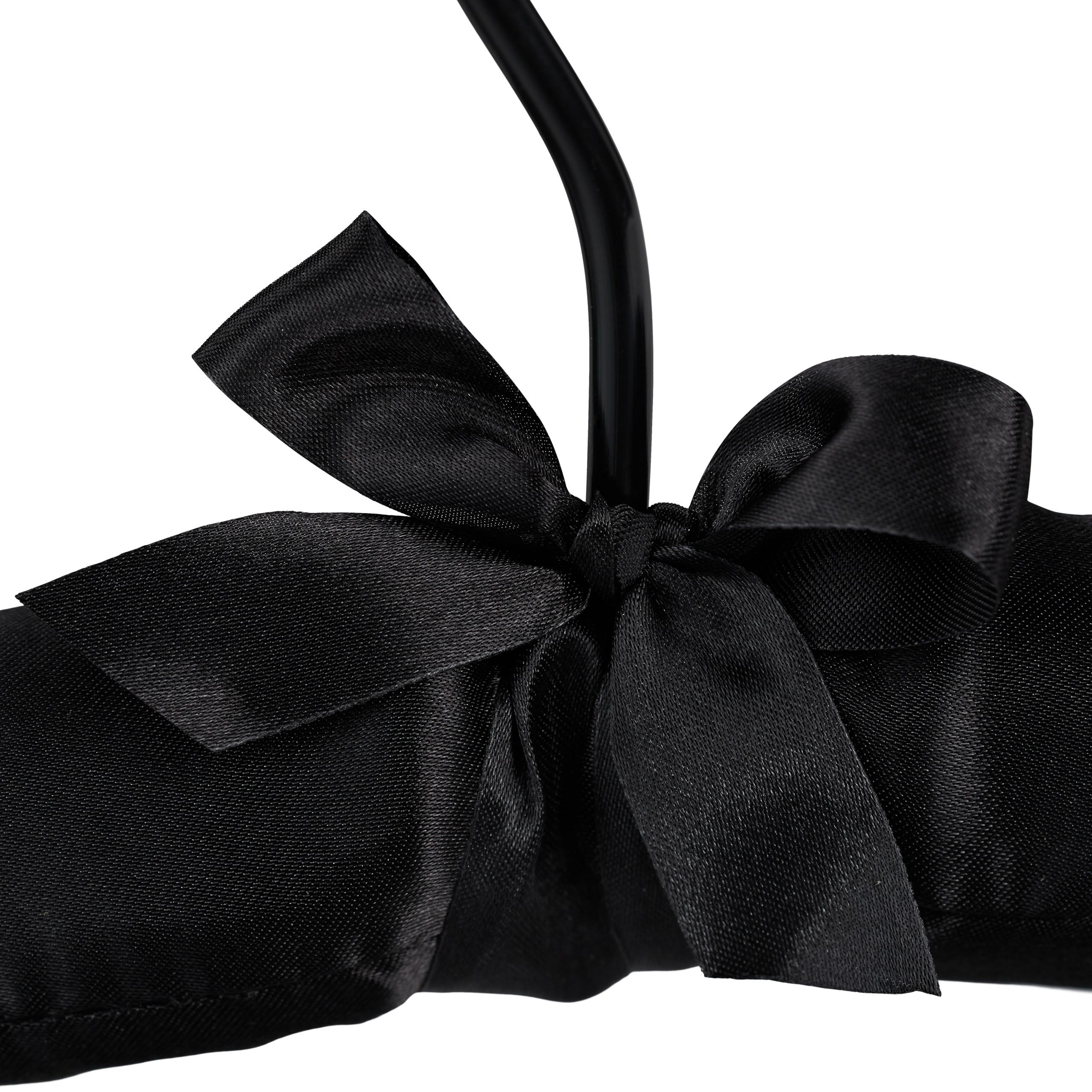 Cintre-satin-cintre-rembourre-doux-vestes-crochet-rotatif-360-noeud-noir-5 miniature 6