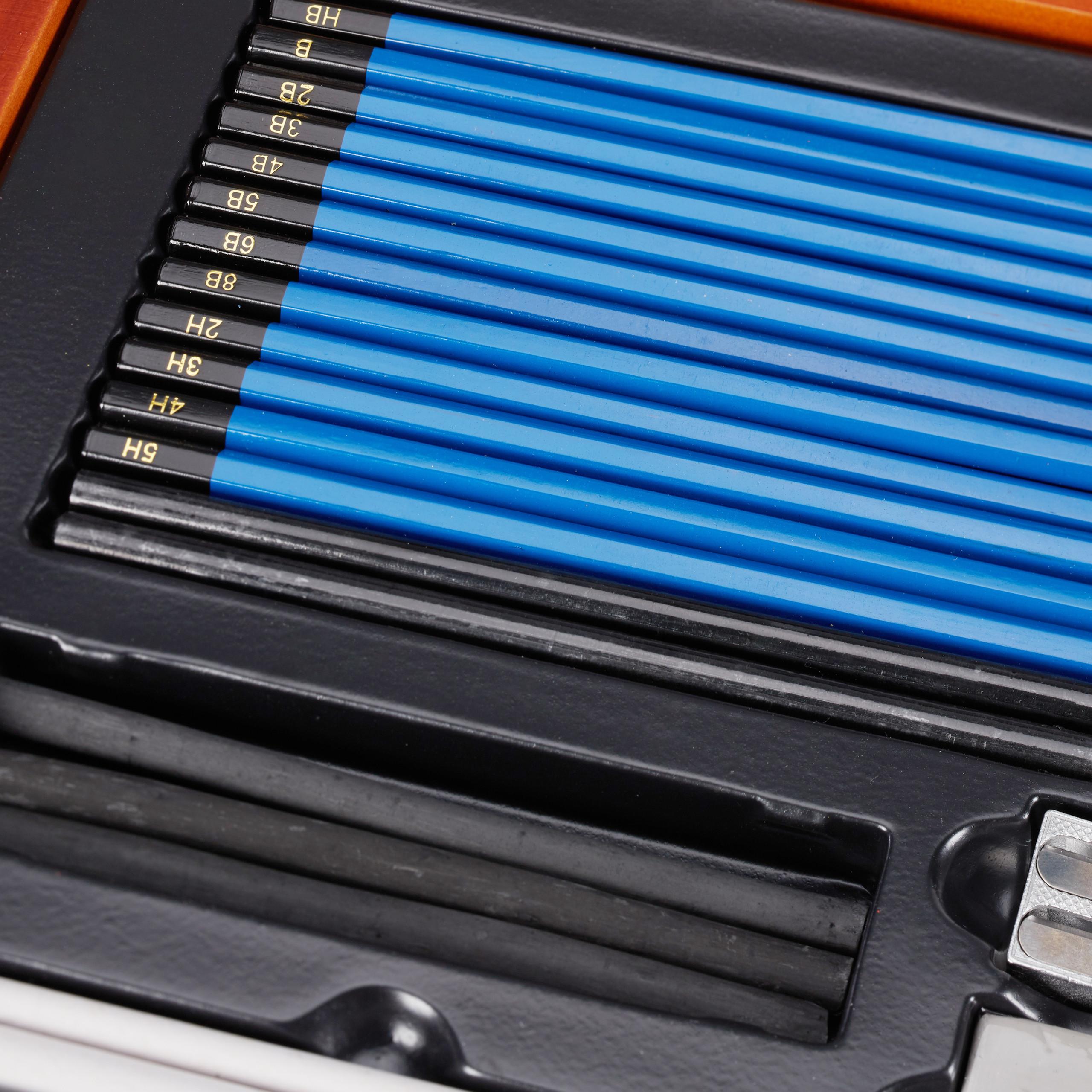 tekenset-hout-tekenkoffer-tekenspullen-tekendoos-48-delig miniatuur 9