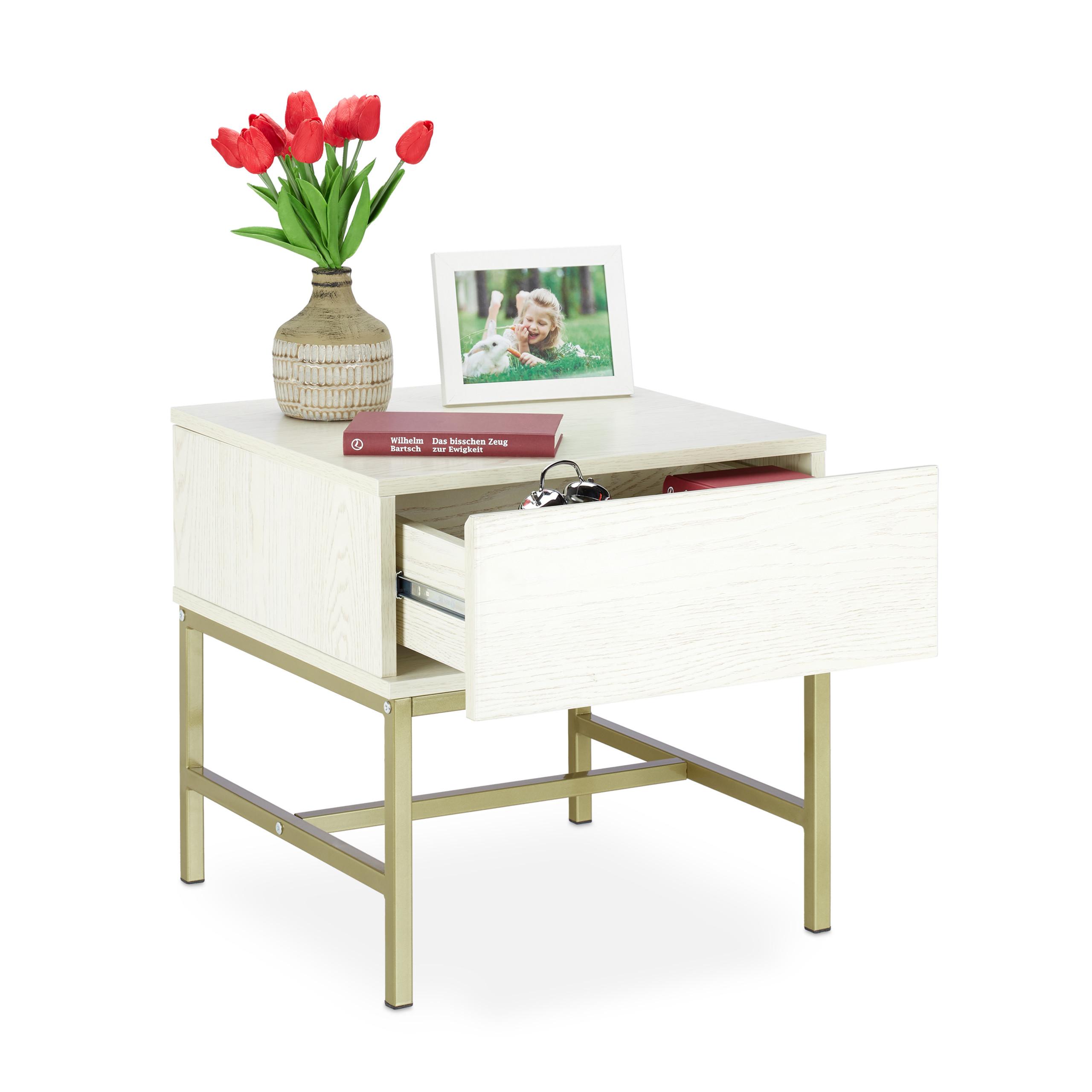 Dettagli su Comodino per la camera da letto in bianco quadrato con cassetto  tavolino