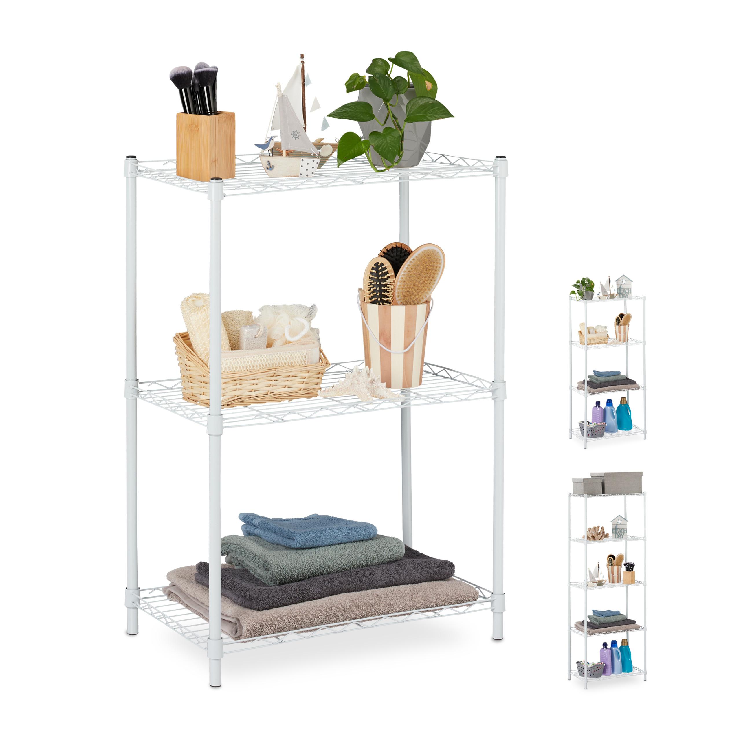 Détails sur Etagère en métal, meuble de rangement, étagère cuisine, salle  de bains, cellier