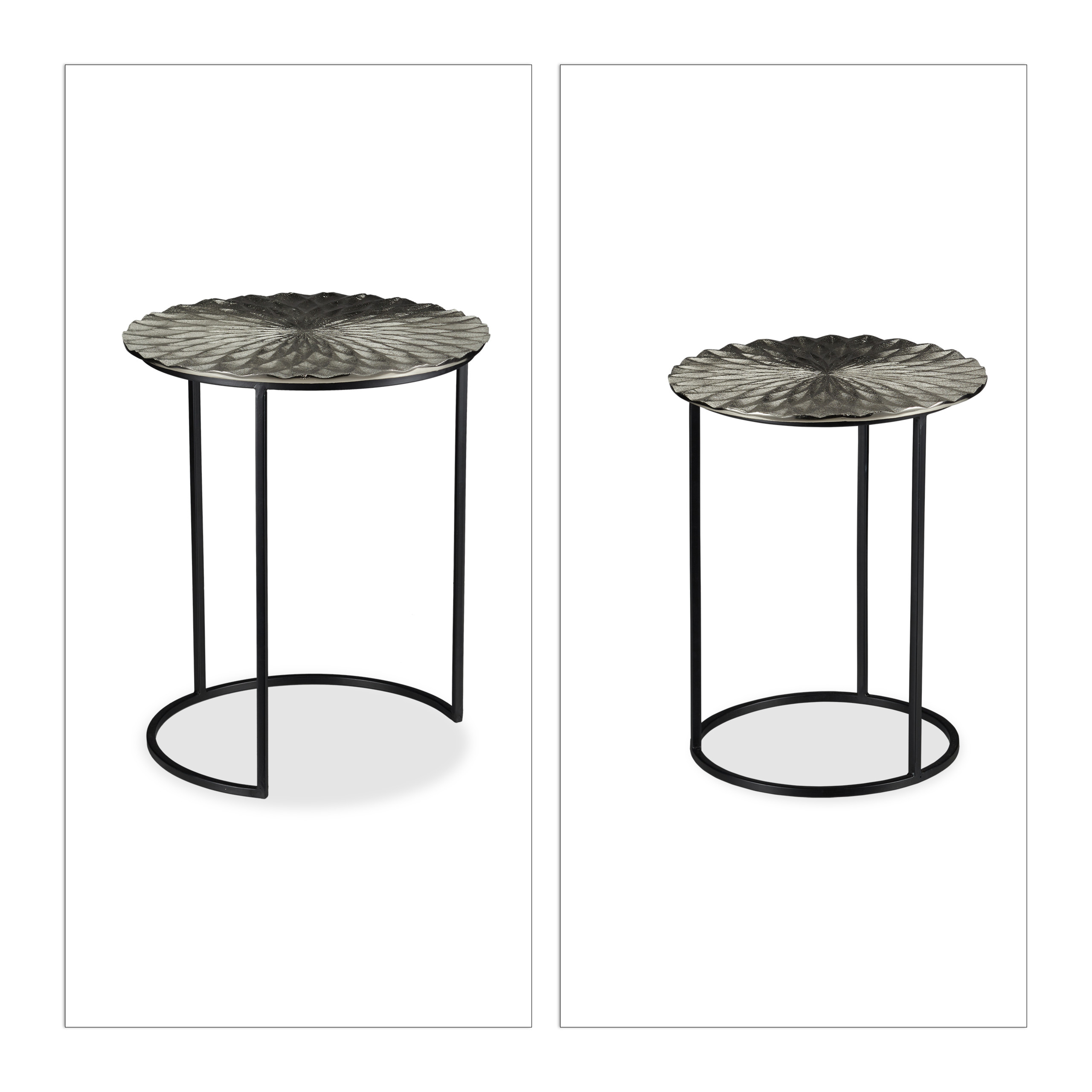 Nesting-Table-Set-of-2-Round-Side-Tables-Coffee-Table-End-Table-Vanity-Stand thumbnail 5