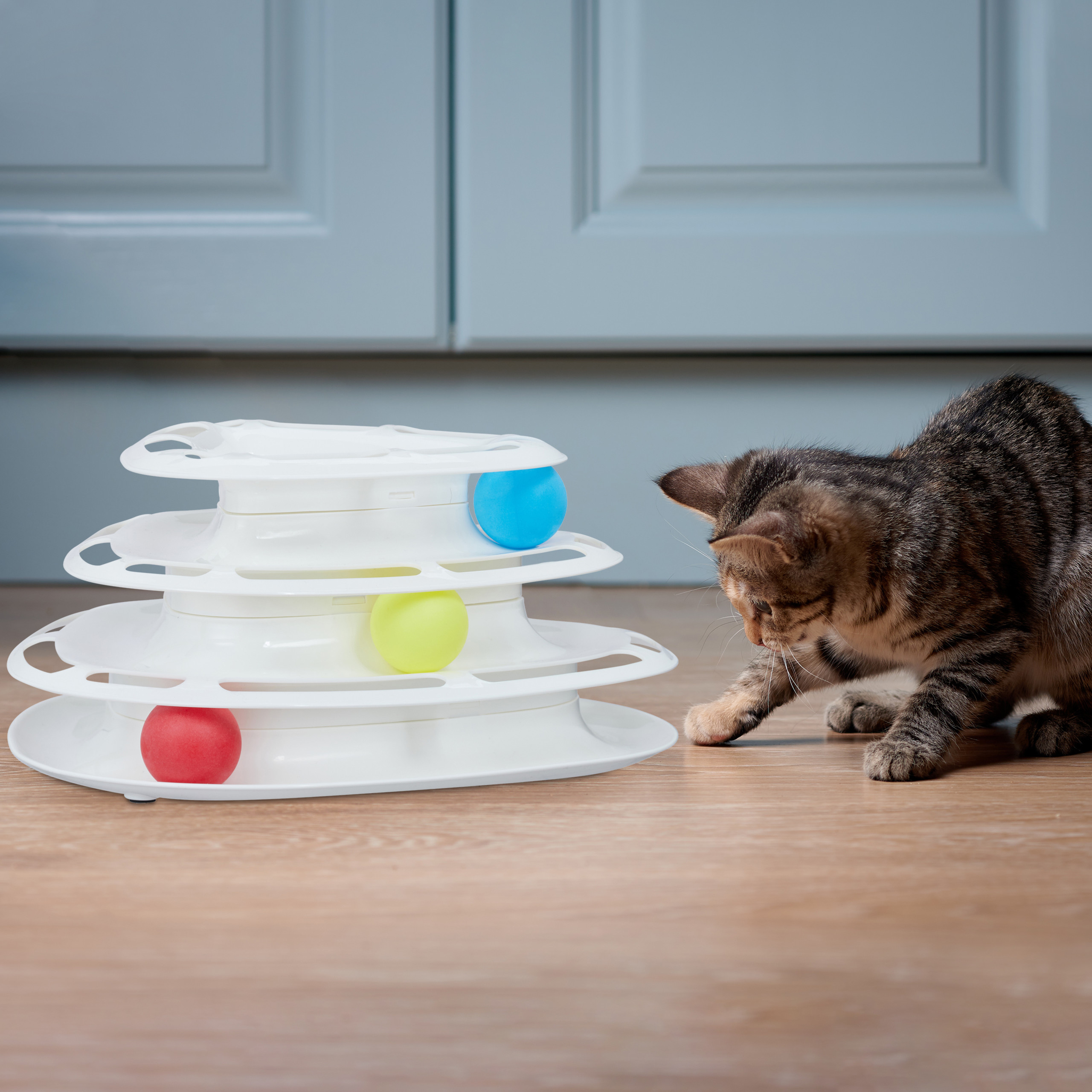 Cat-Roller-Toy-Interactive-Kitten-Teaser-3-Balls-3-Level-Tower-Track-Feline-Play thumbnail 3