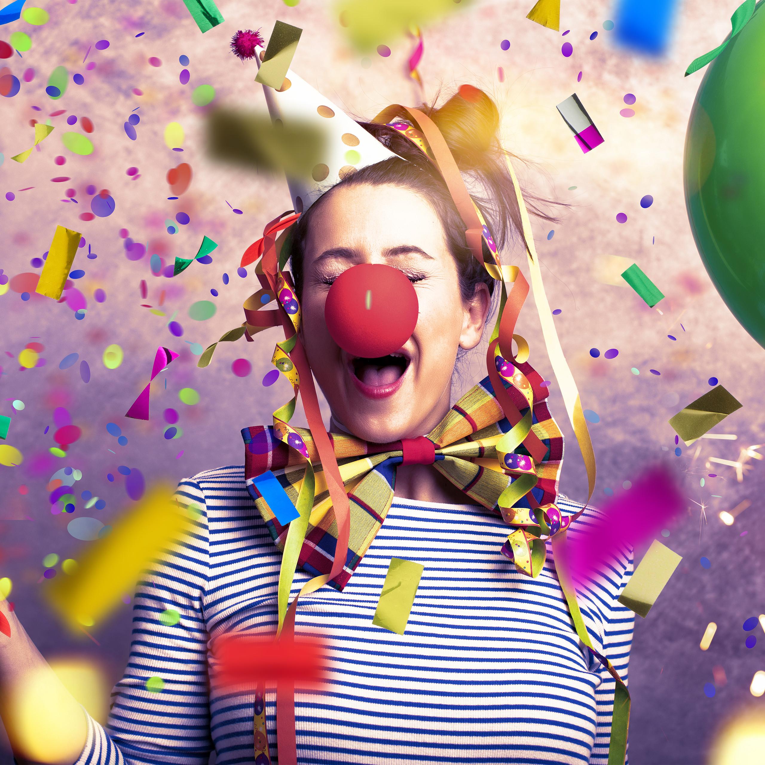 Konfettiregen Shooter Fasching Karneval bunt Party-Popper als Konfetti-Bombe