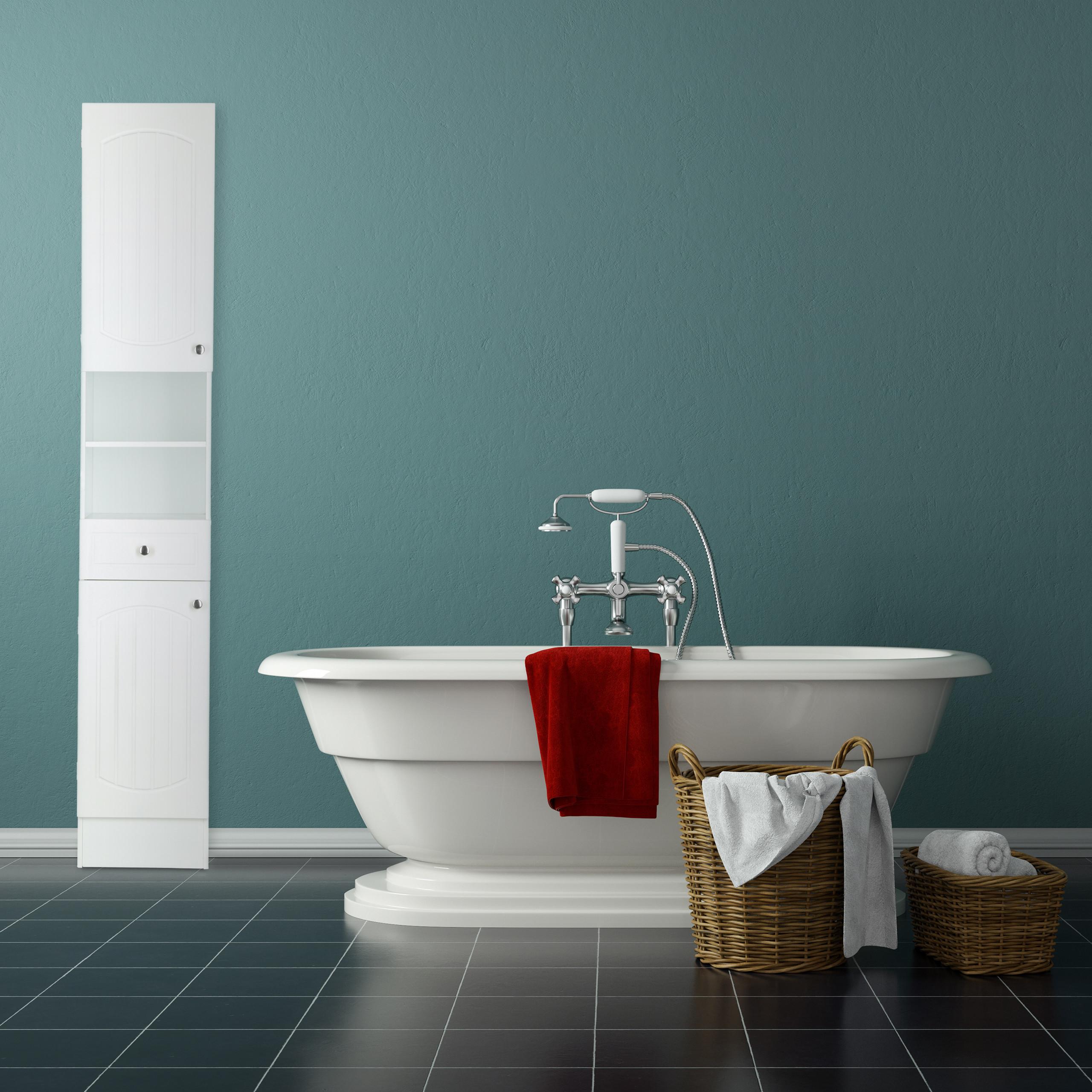 bad hochschrank holz badschrank wei badregal. Black Bedroom Furniture Sets. Home Design Ideas